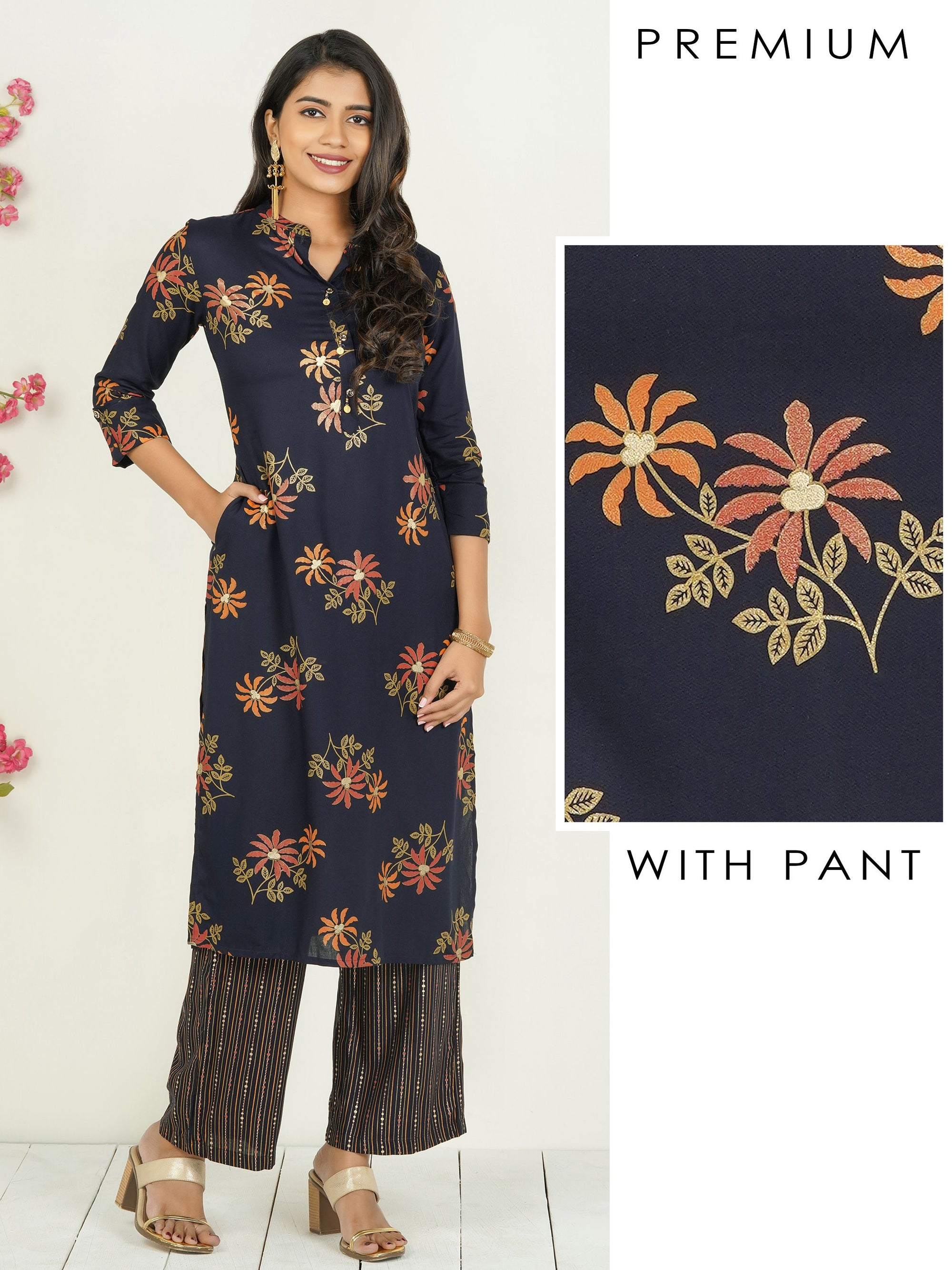 Vibrant Floral Printed Kurti with Parallel Pant Set