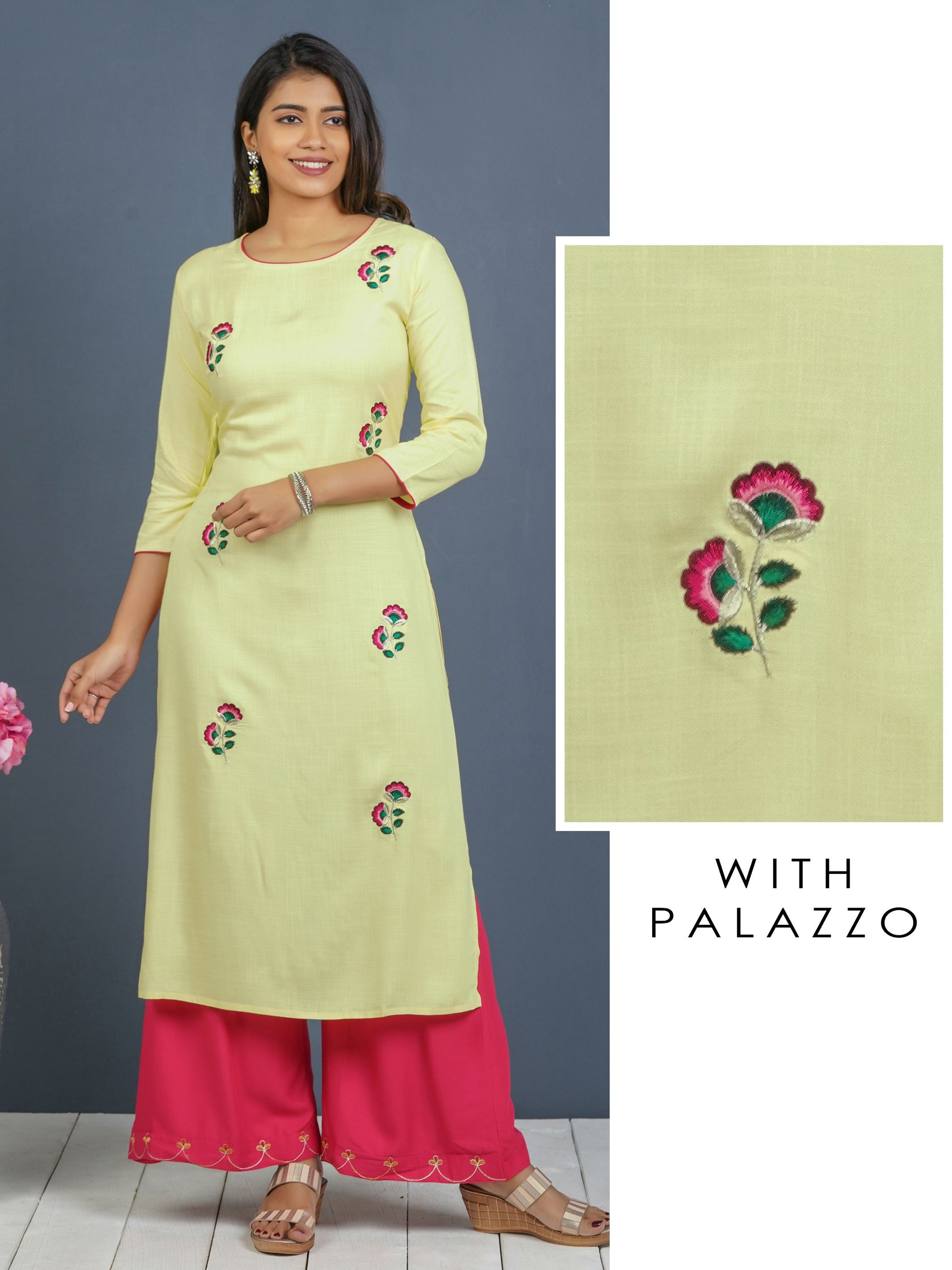 Floral Machine Embroidered Kurti with Palazzo Set