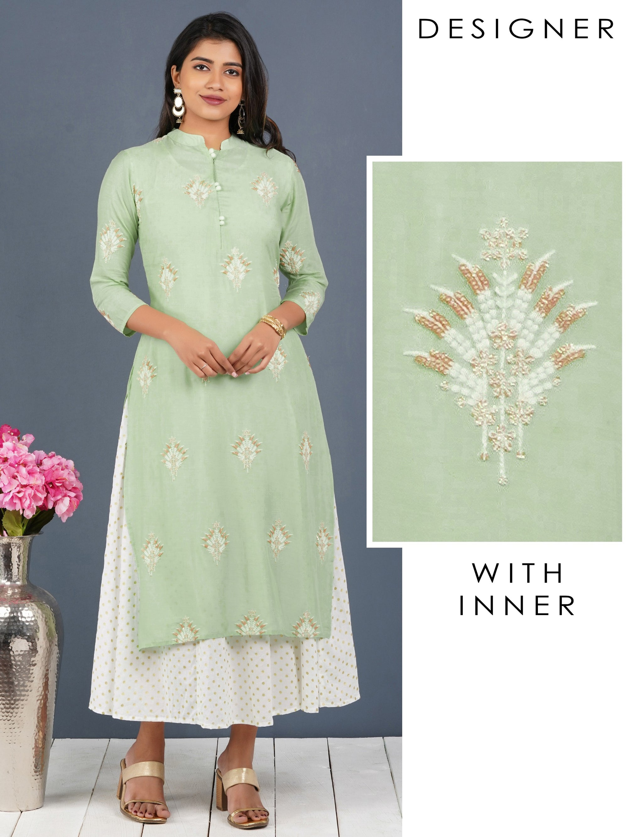 Glitter Sequins Embroidered Kurti with Detachable Polka Dotted Long Inner - Lime green