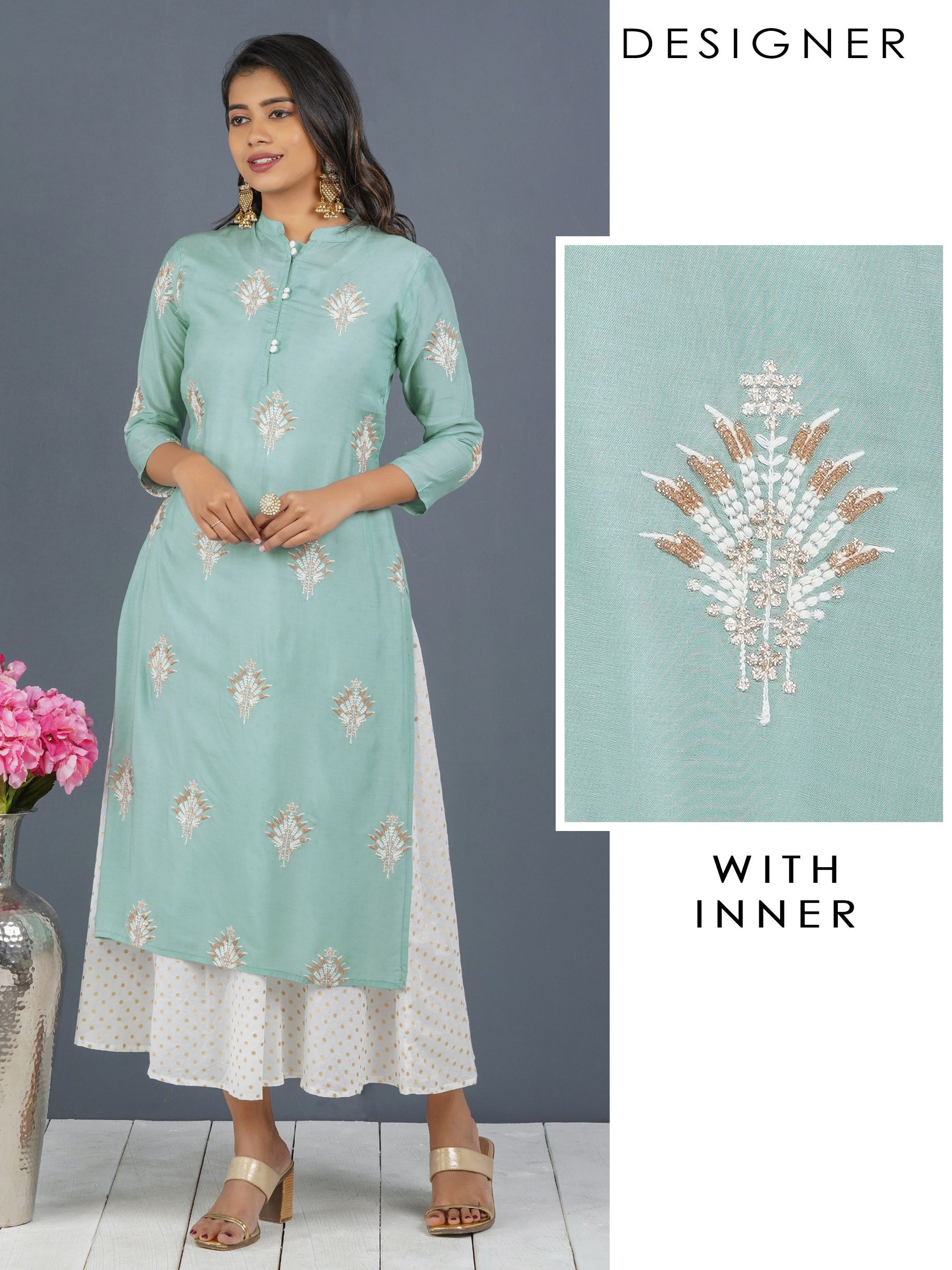 Glitter Sequins Embroidered Kurti with Detachable Polka Dotted Long Inner – Mint Green