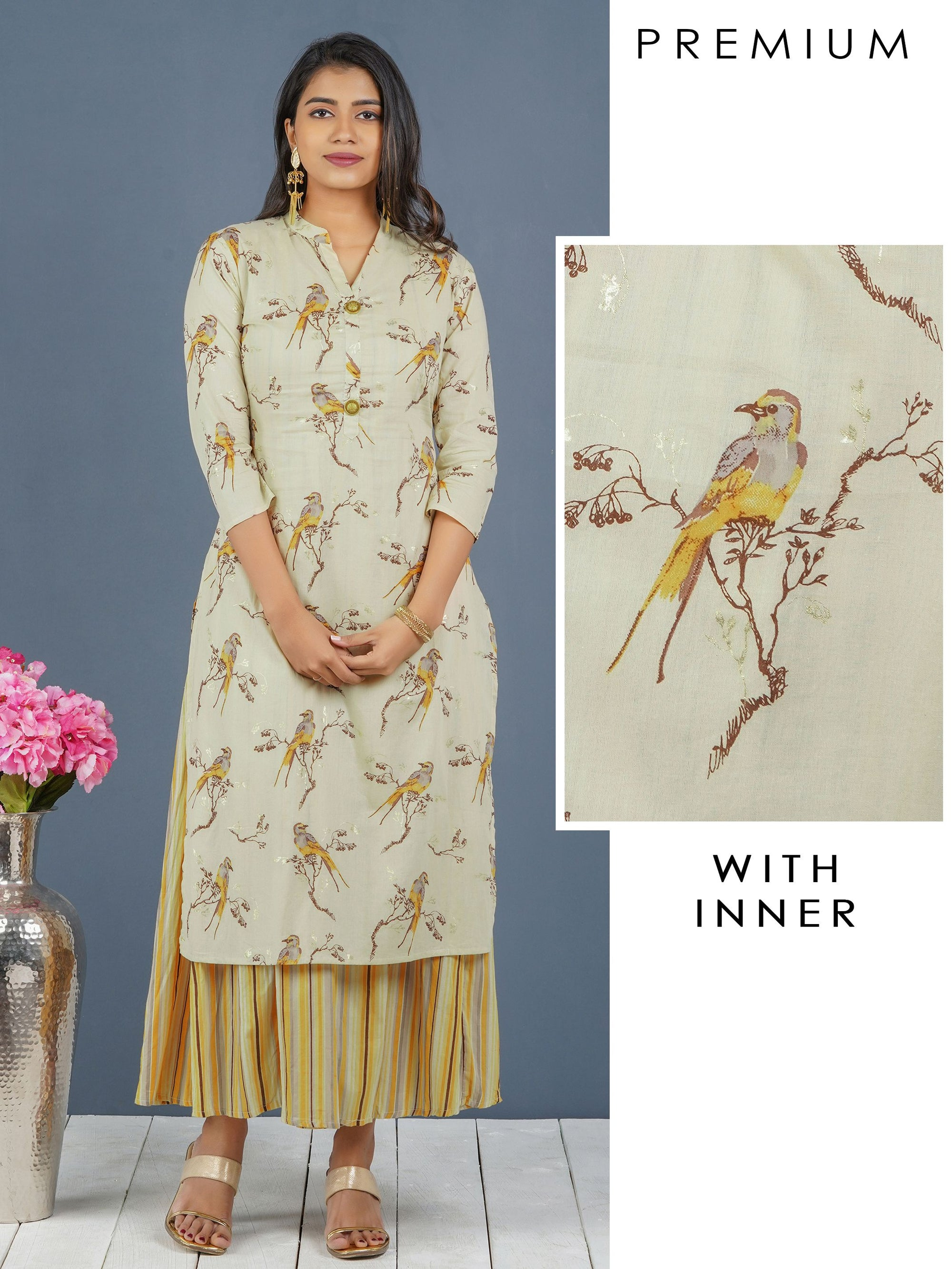 Bird Printed Kurti with Multi Color Striped Long Inner – Beige