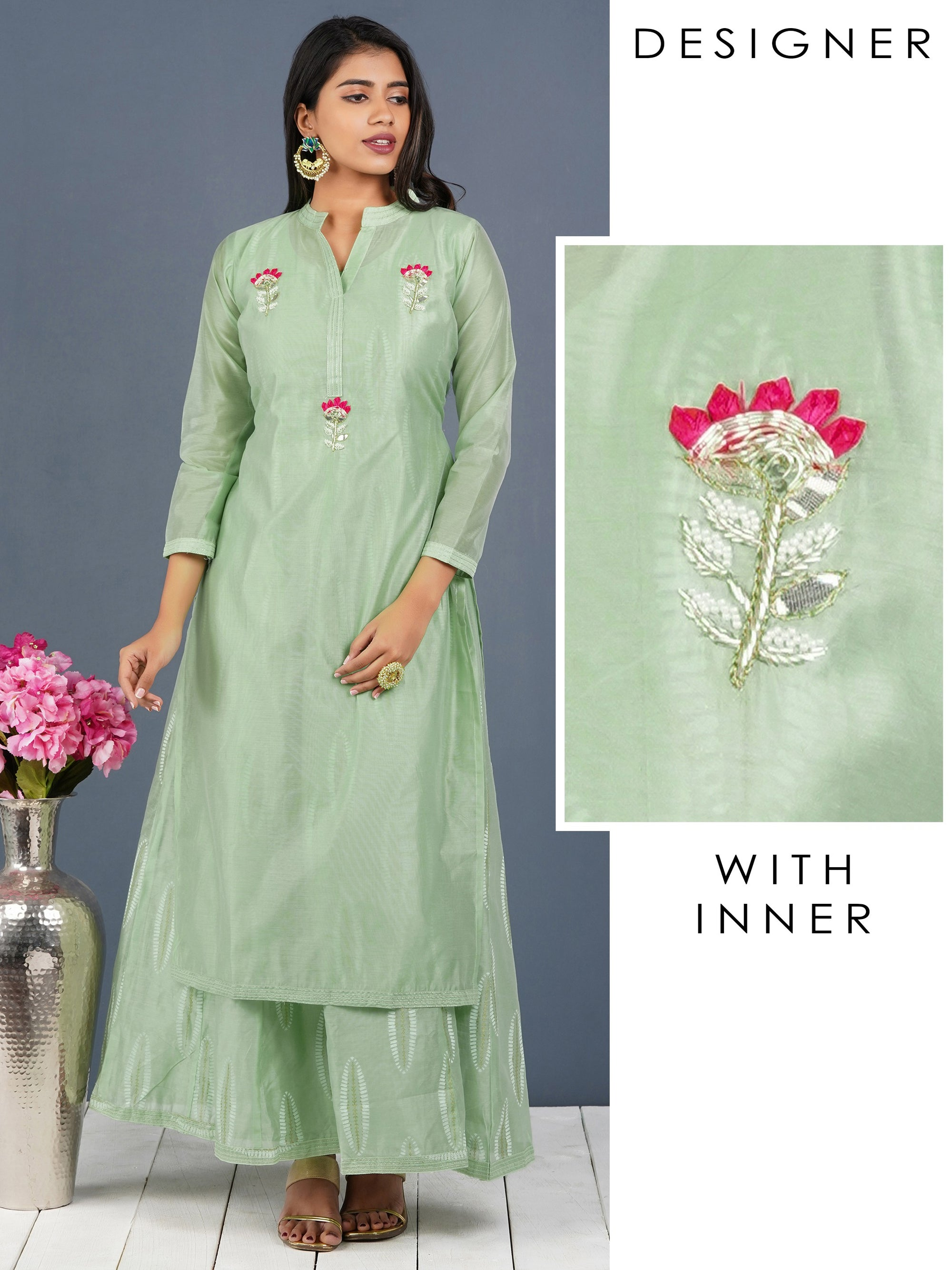 Gota & Zardosi Embellished Kurti with Detachable Leaf Printed Long Inner – Pastel Green