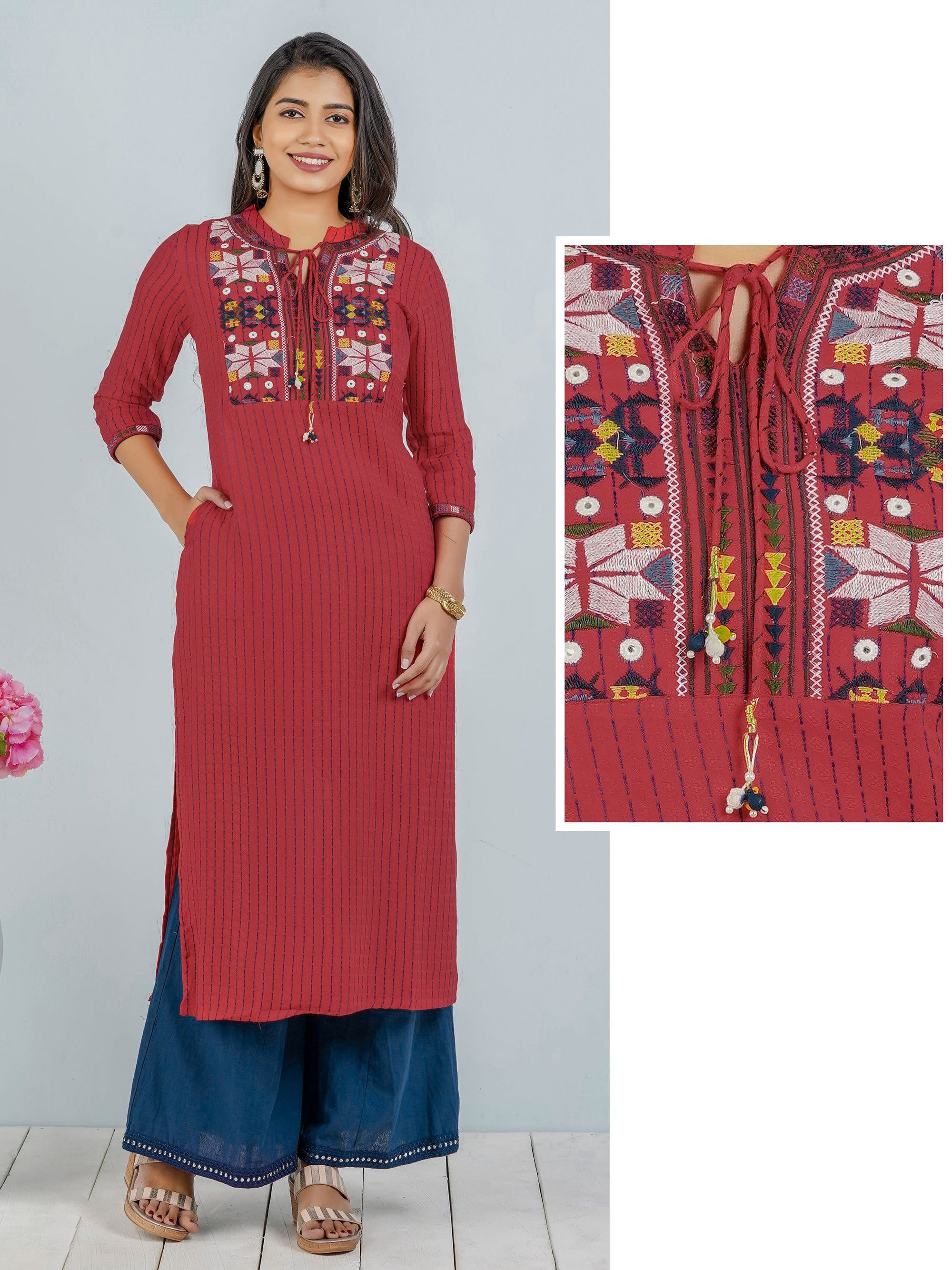 Tribal Embroidered And Mirror Work Red Kurta