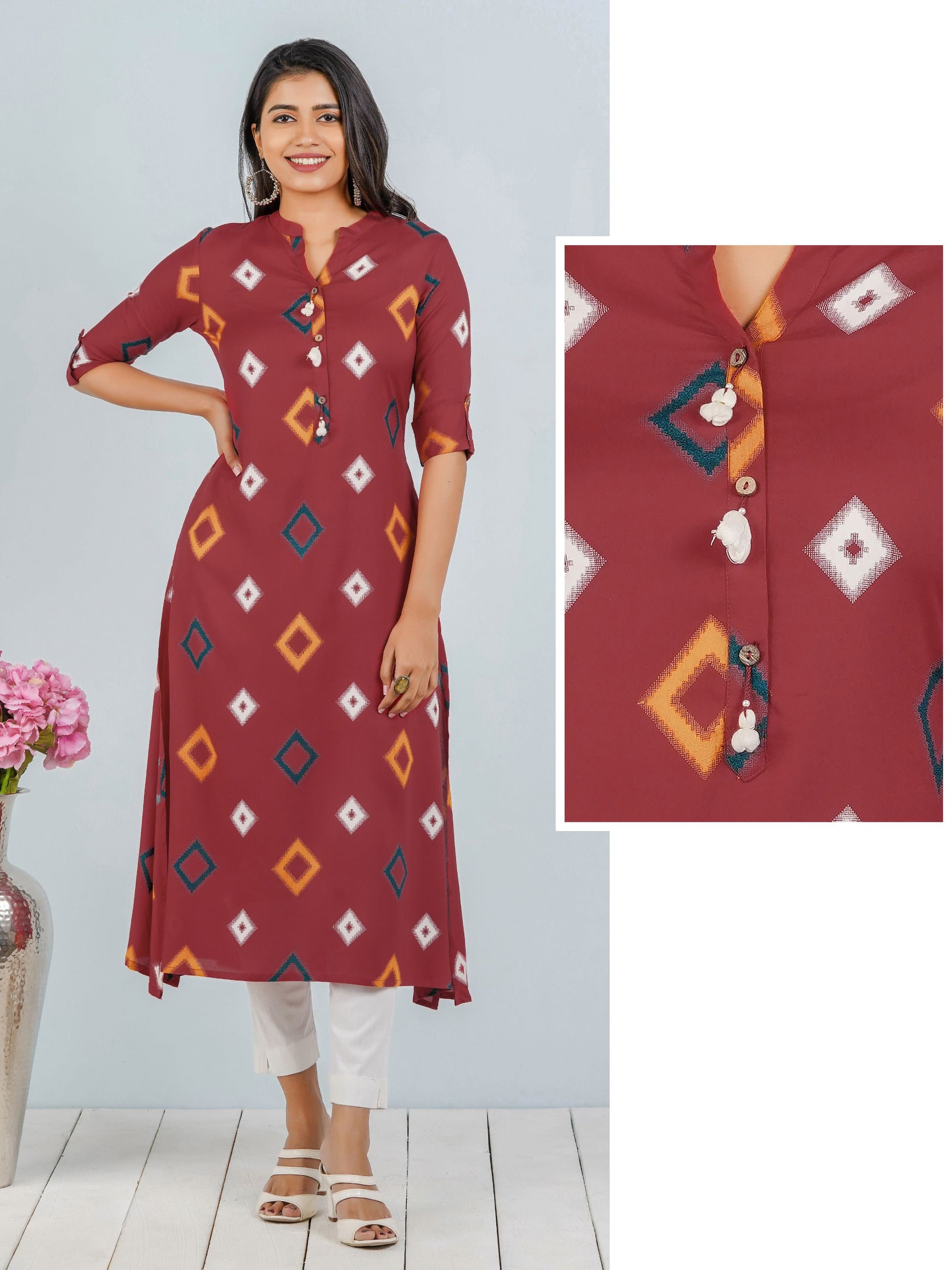 Diamond Printed A-line Kurta With Tassels - Red