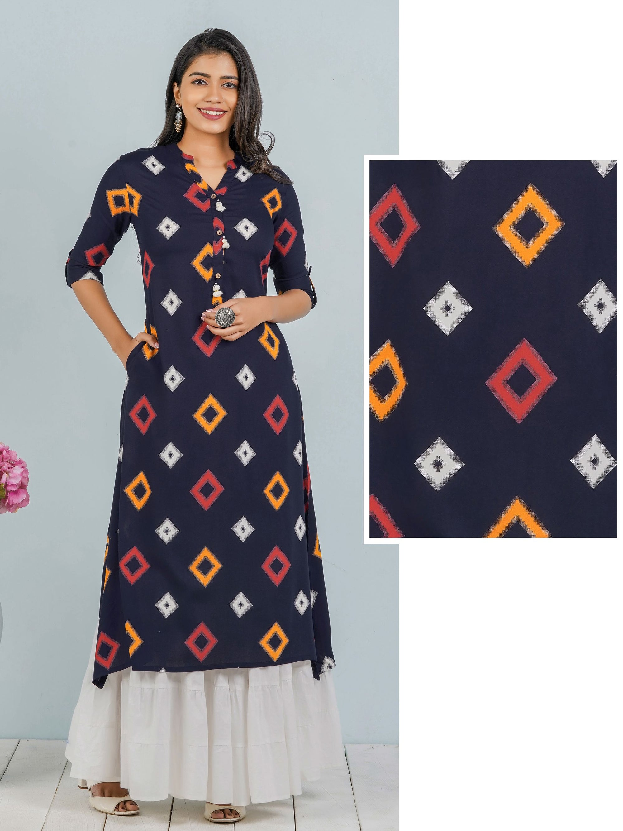 Diamond Printed A-line Kurta With Tassels - Navy Blue