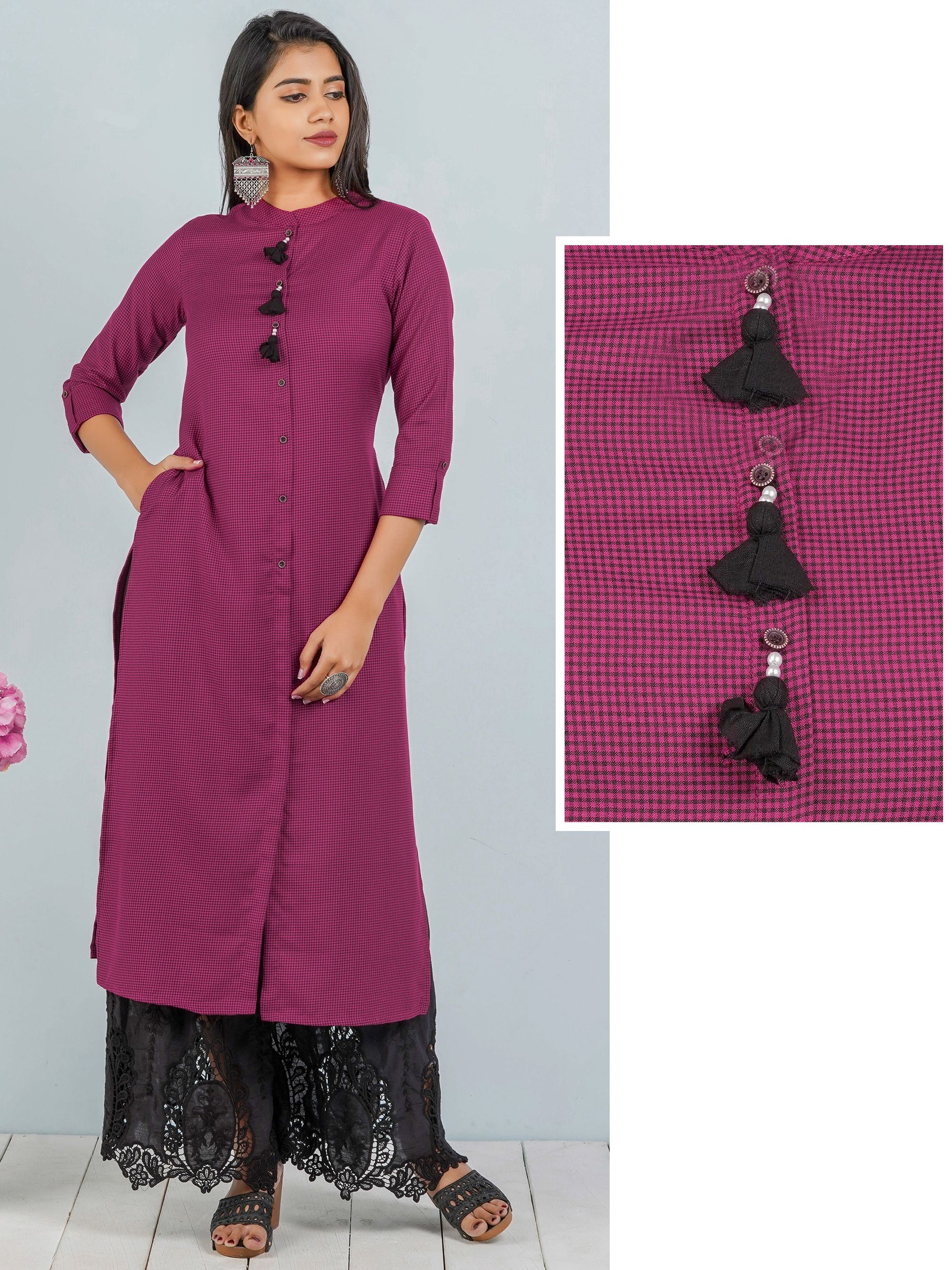 Checkered Cotton Kurti with Tassels – Rani Pink