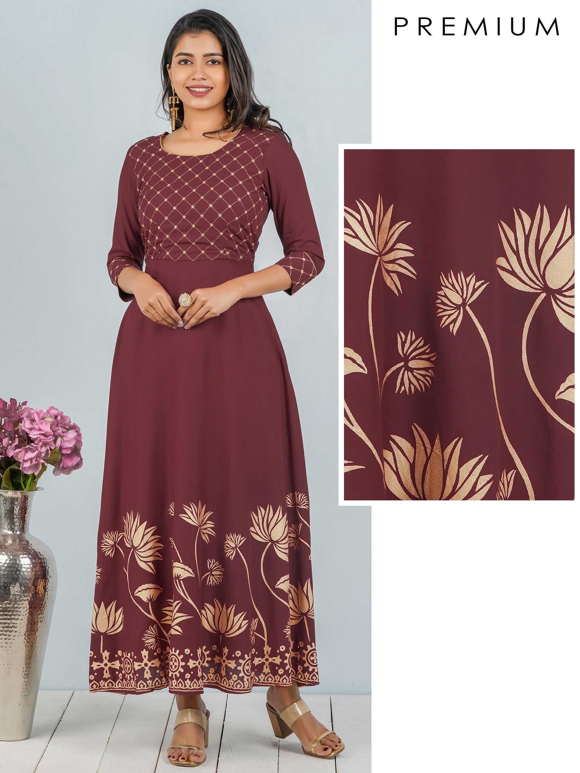 Zari Embroidered Yoke With Lotus Khari Printed Maxi