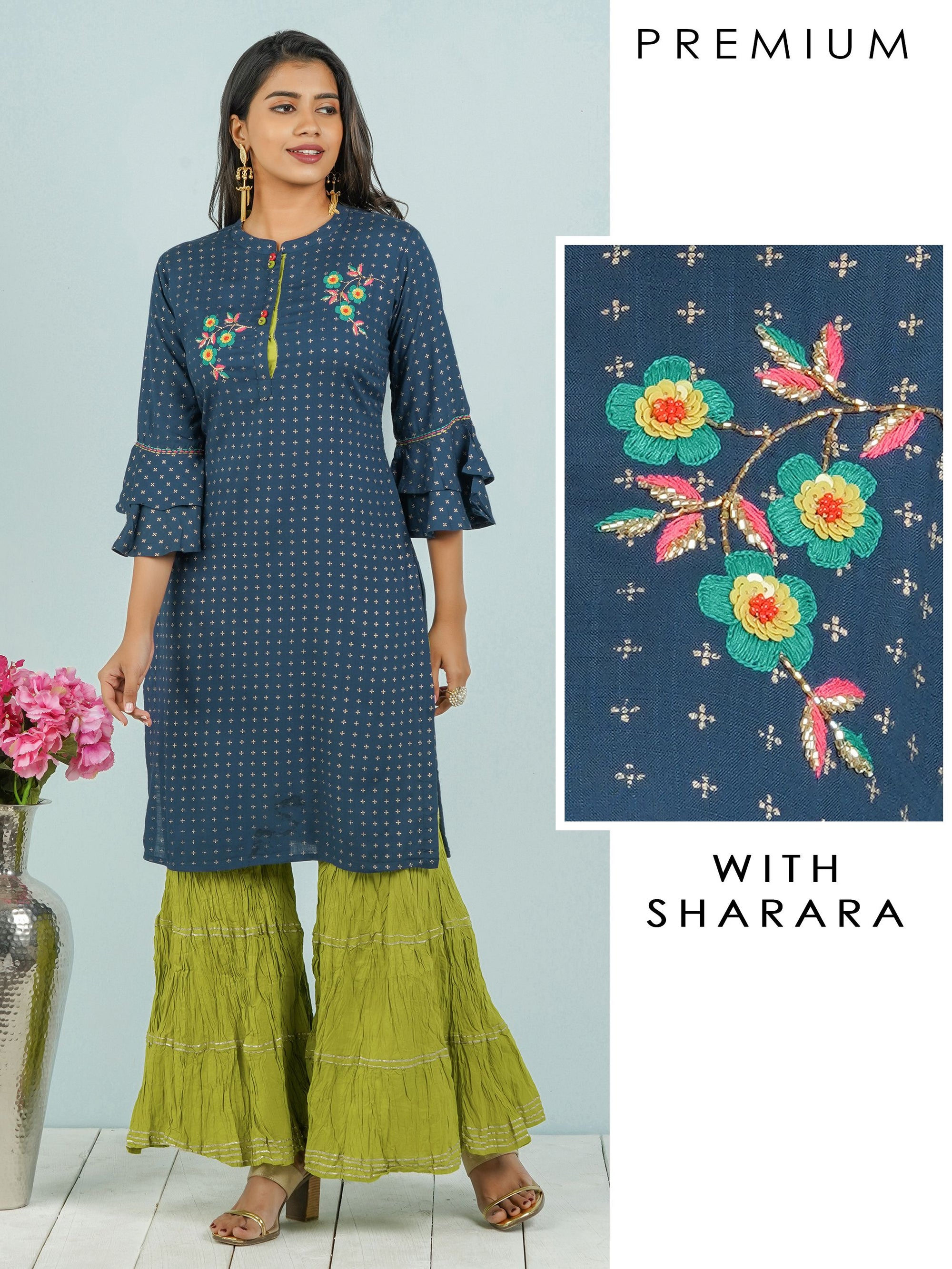 Floral Embroidered Sequins Kurti with Crushed Sharara Set