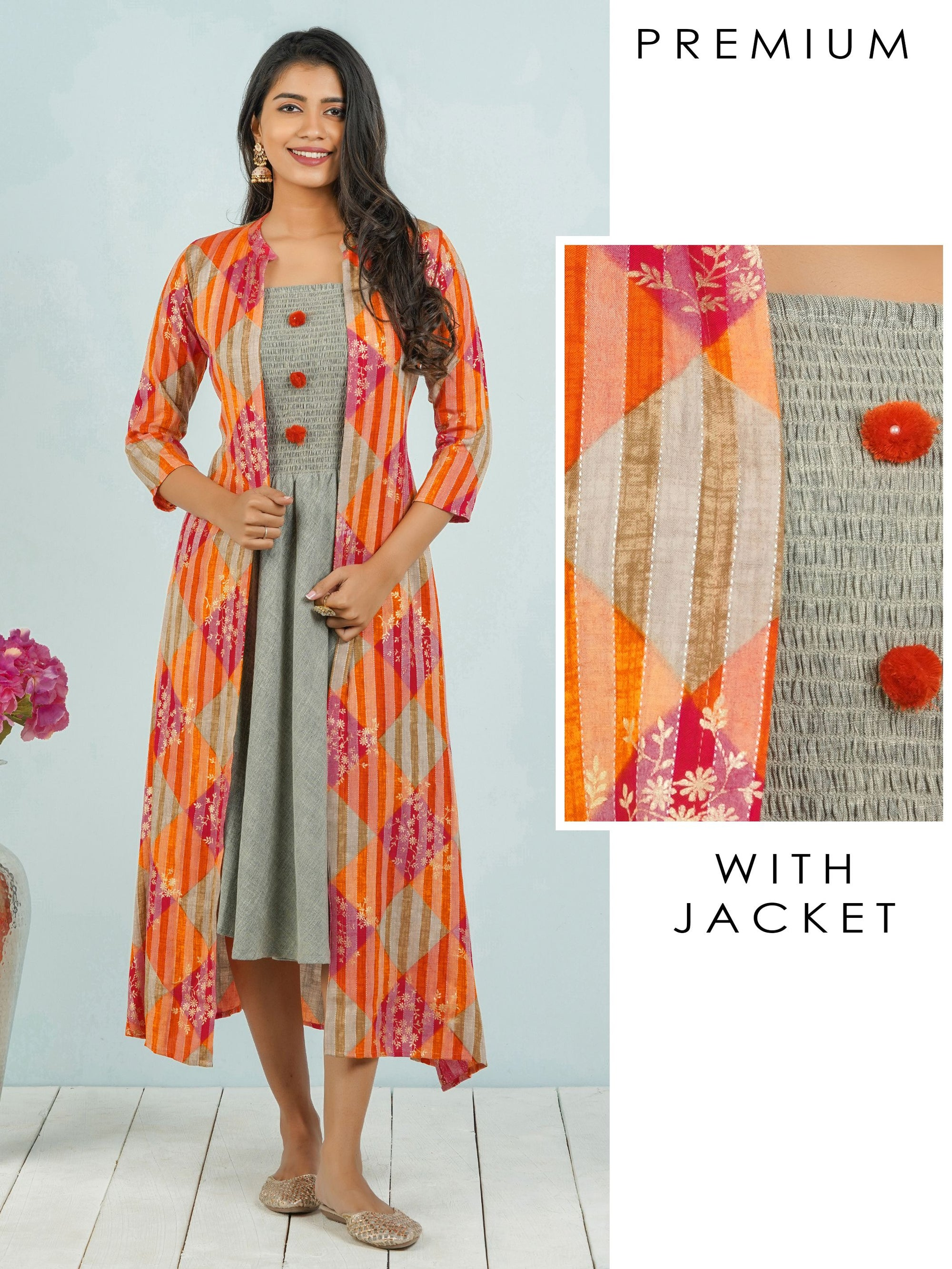 Smocking Bias Cut Maxi with Printed Jacket