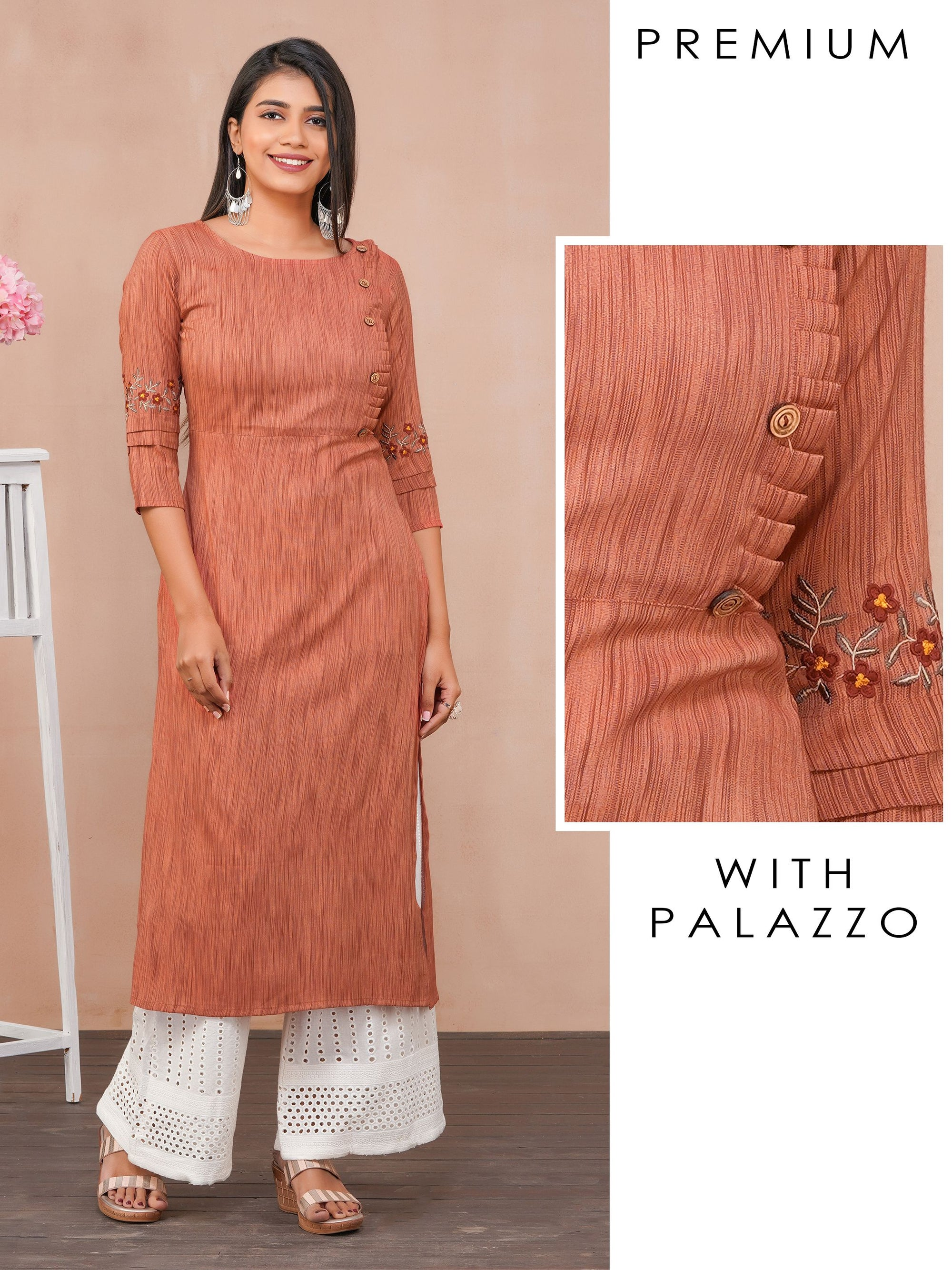 Minimal Embroidered Kurti with Schiffli Palazzo Set