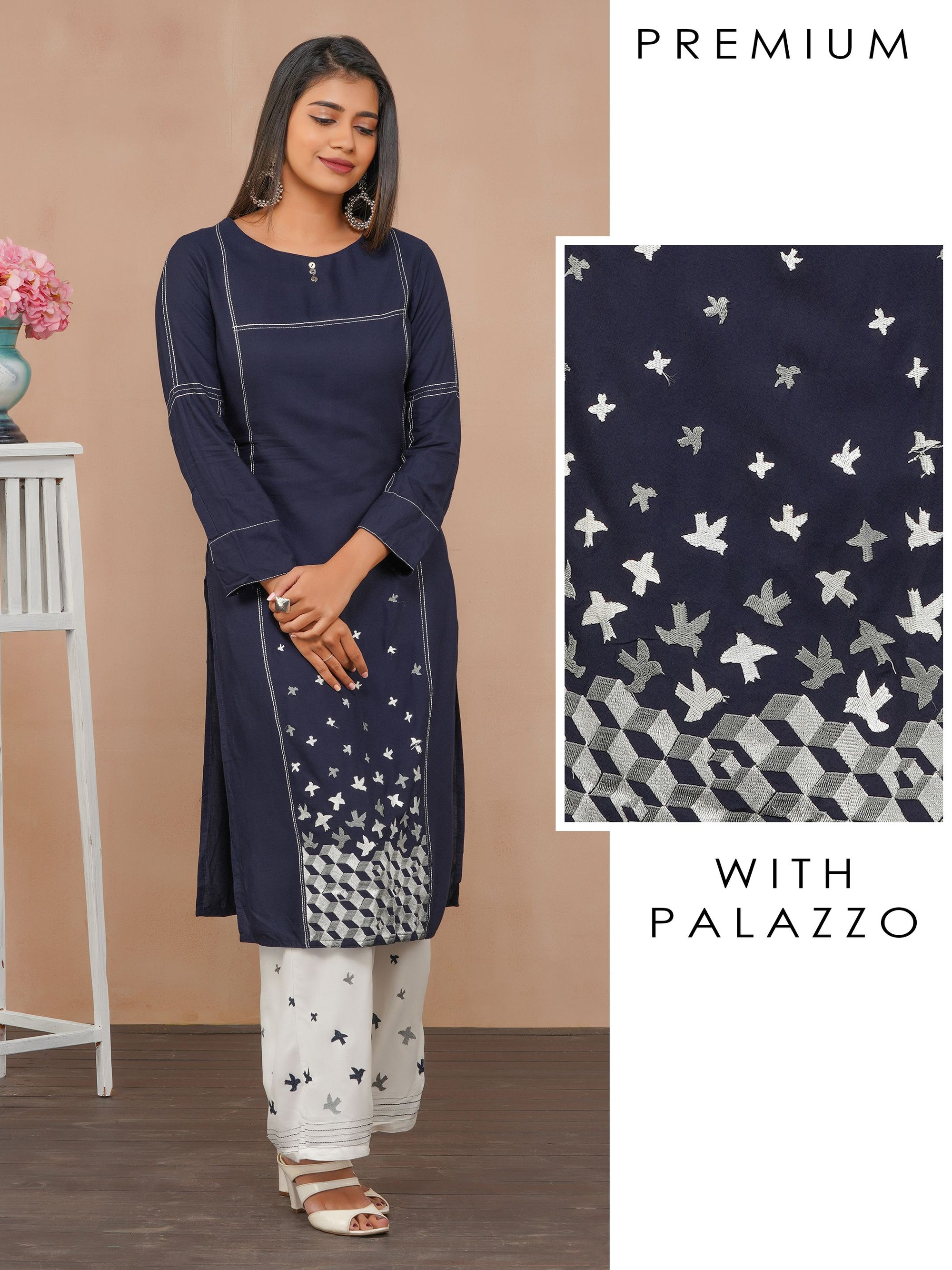 Satin Stitch Bird Embroidered Kurti with Palazzo Set - Navy Blue