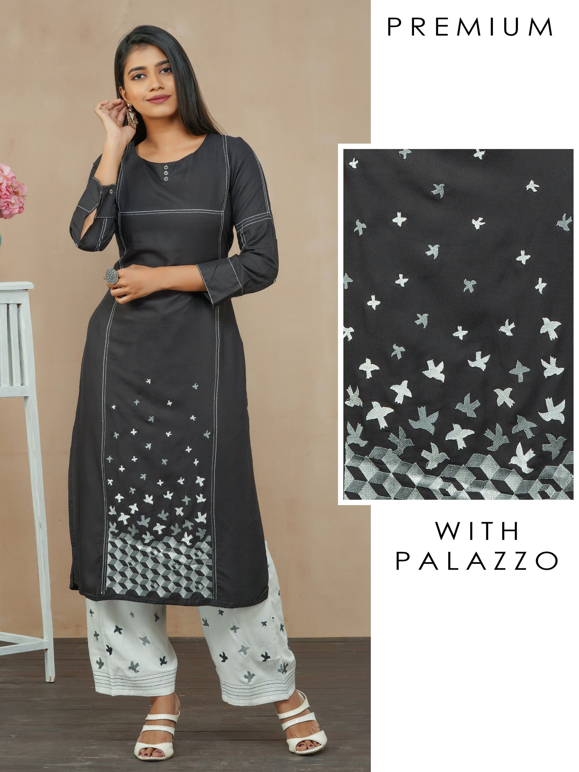 Satin Stitch Bird Embroidered Kurti with Palazzo Set - Black
