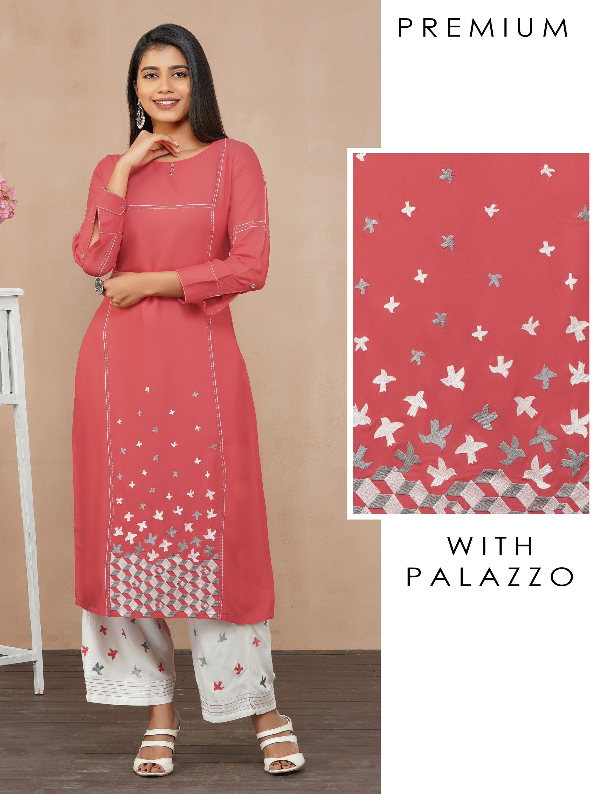 Satin Stitch Bird Embroidered Kurti with Palazzo Set - Red