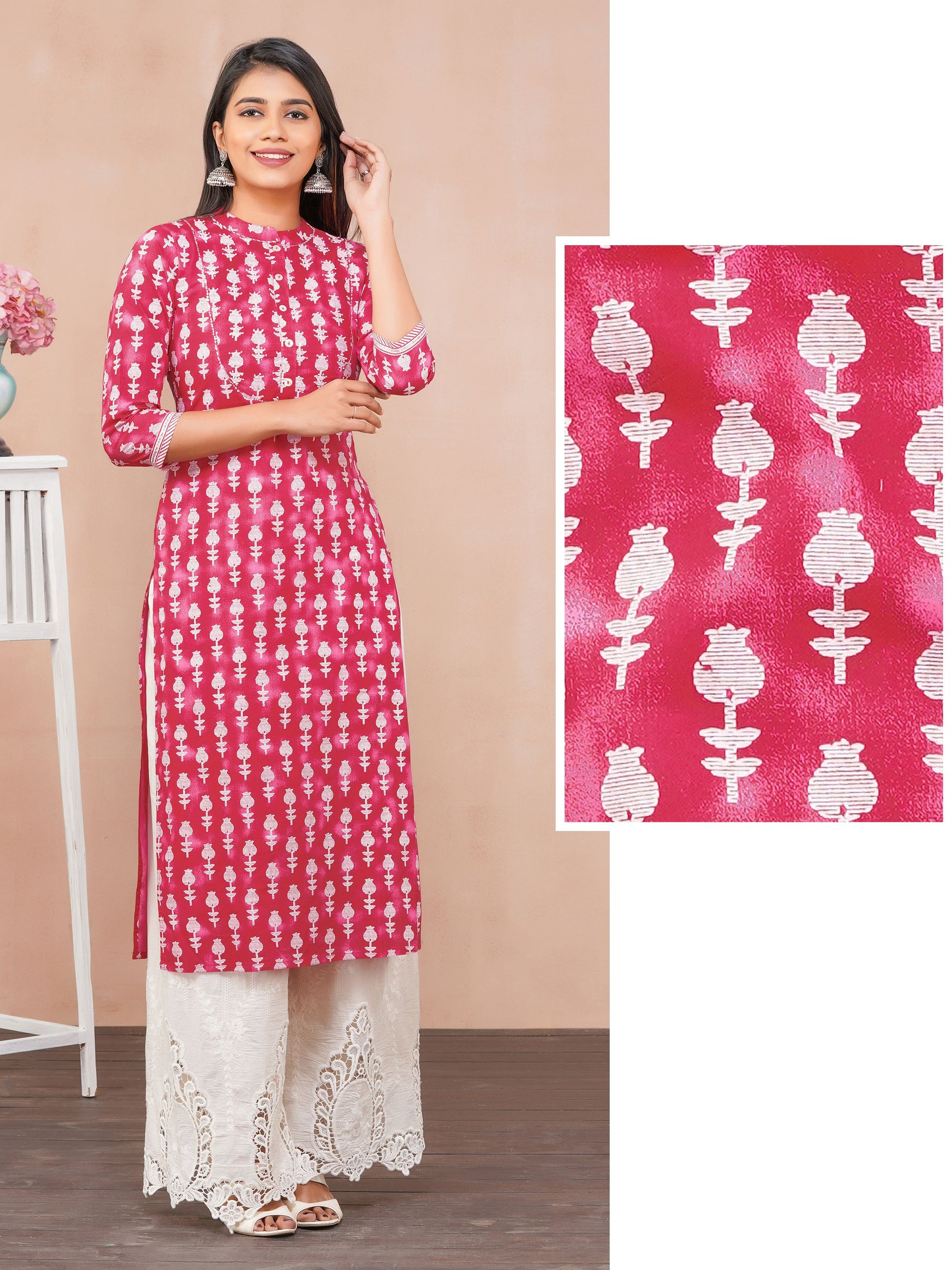 Sequins Enhanced Tulip Printed Kurti – Rani Pink