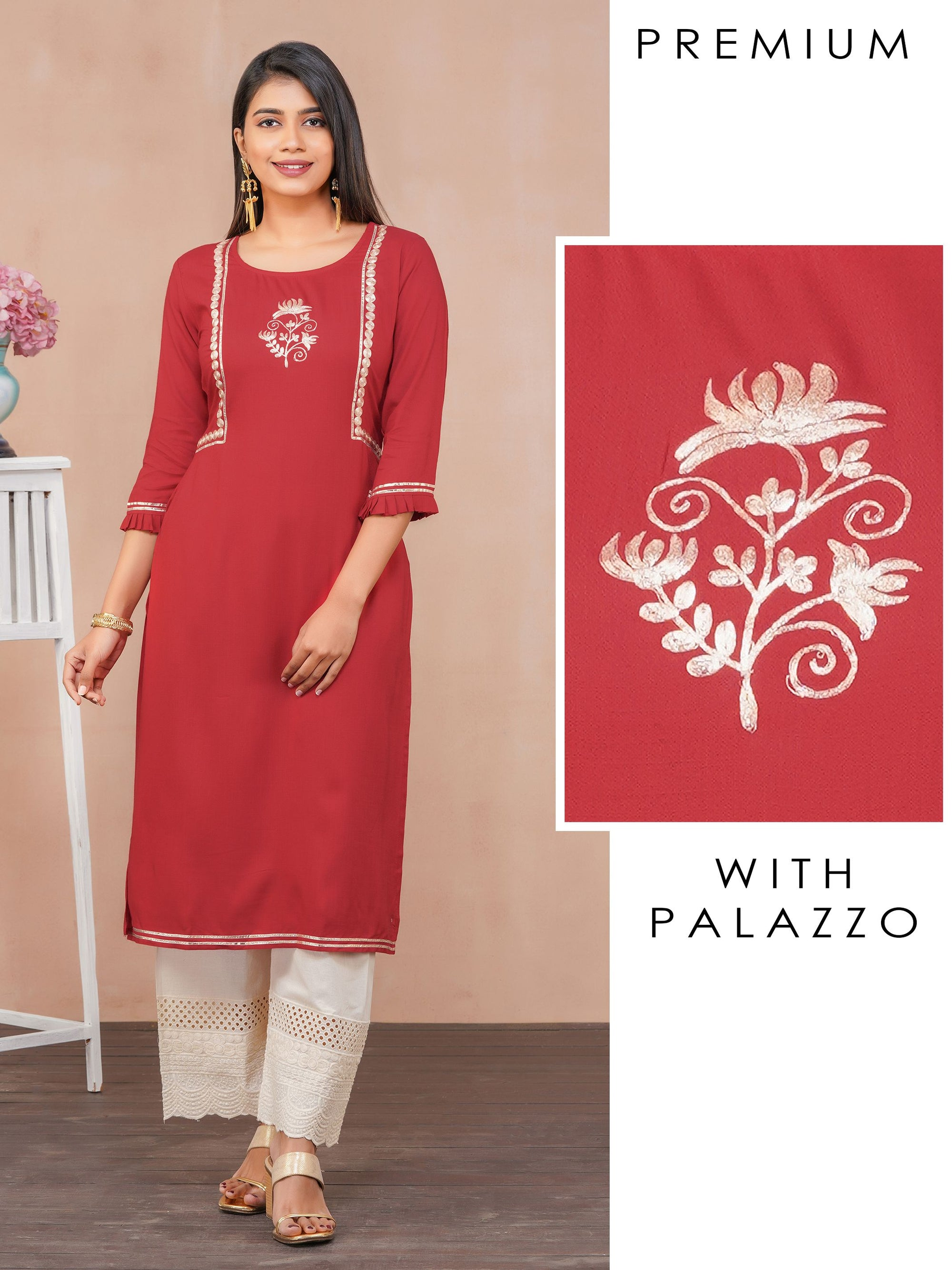 Cord Embroidered Kurti with Schiffli Palazzo Set
