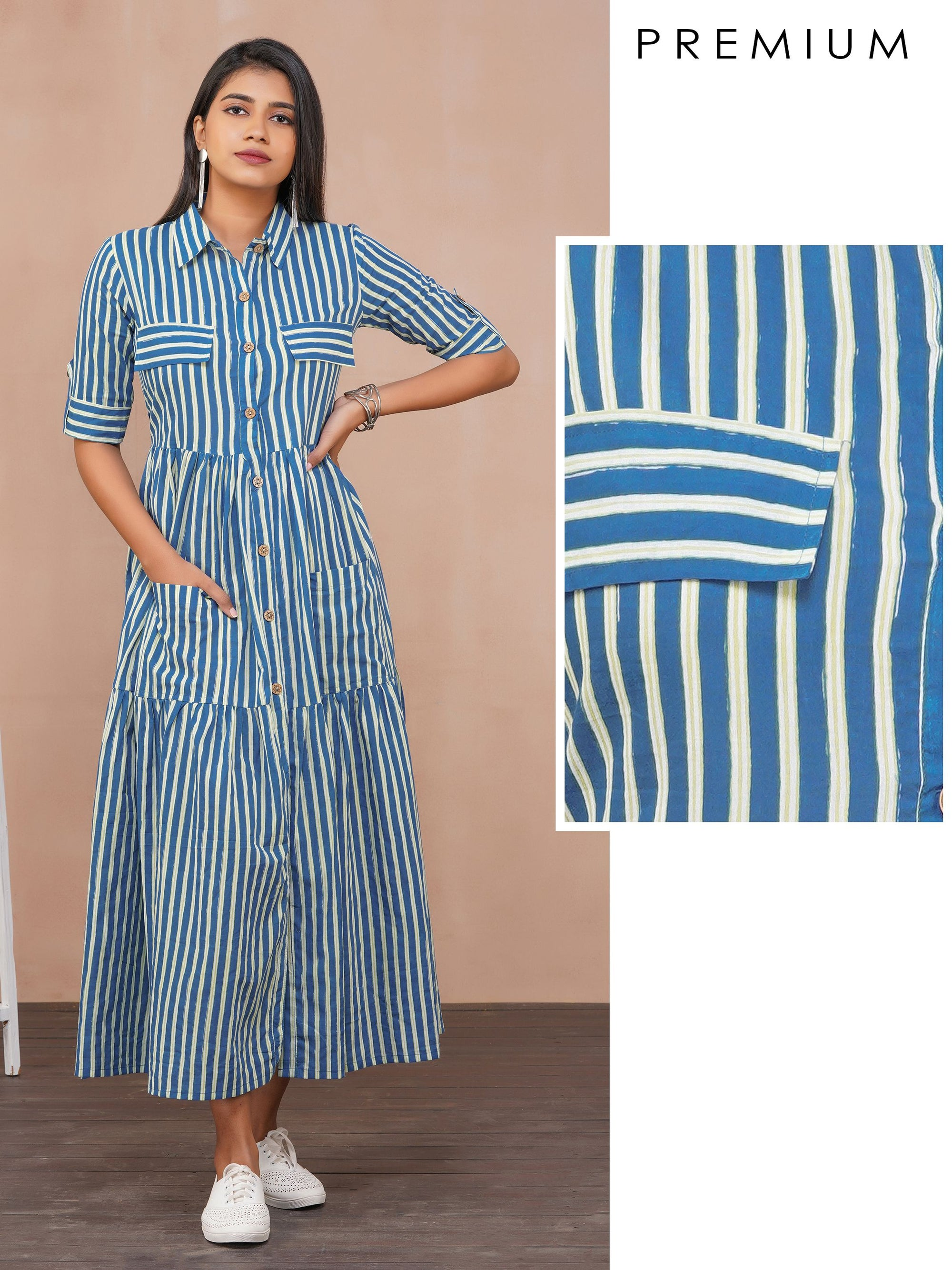 Bengal Striped Tiered Cotton Maxi