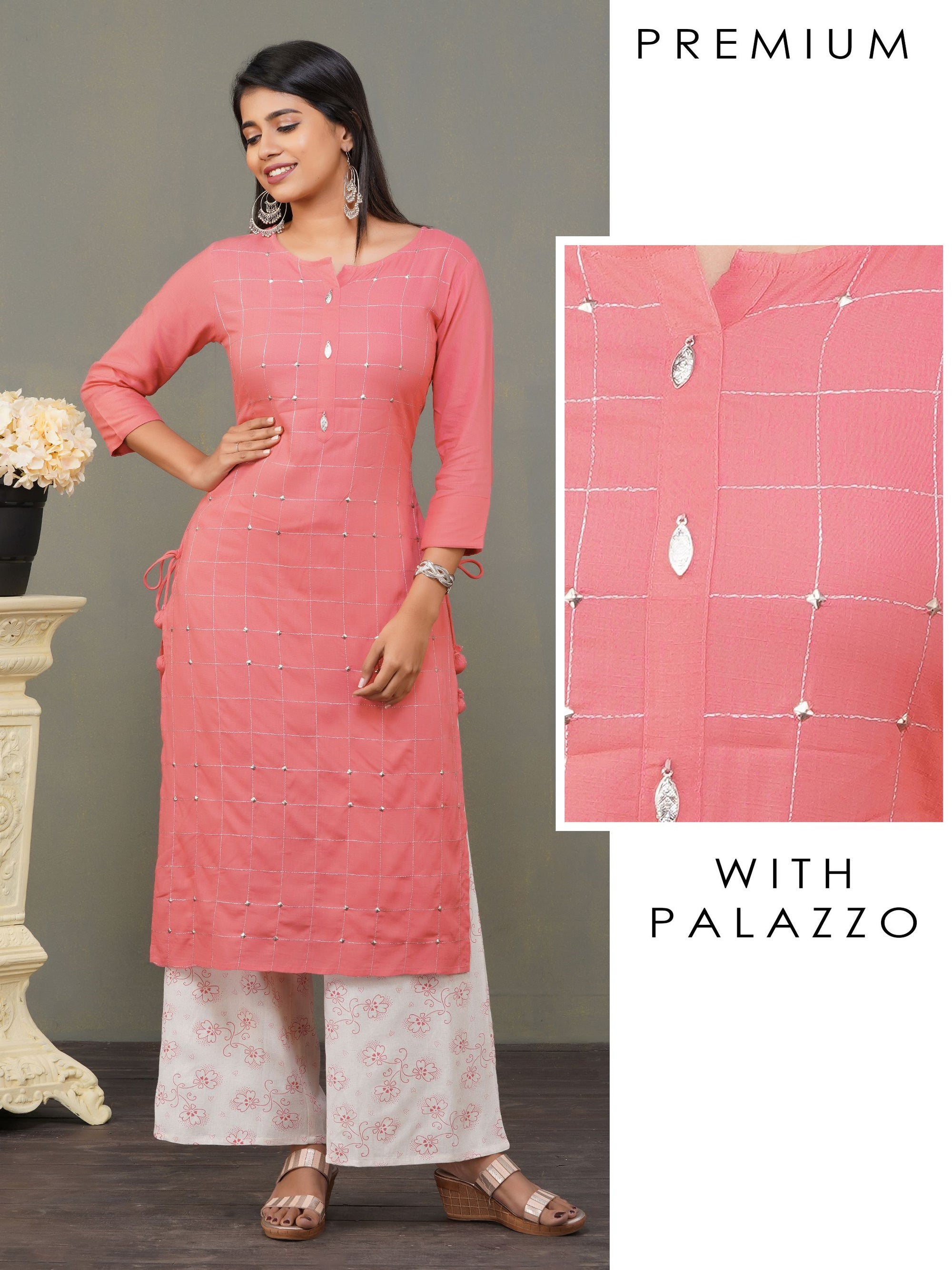 Geometric Sequined Kurti with Palazzo Set