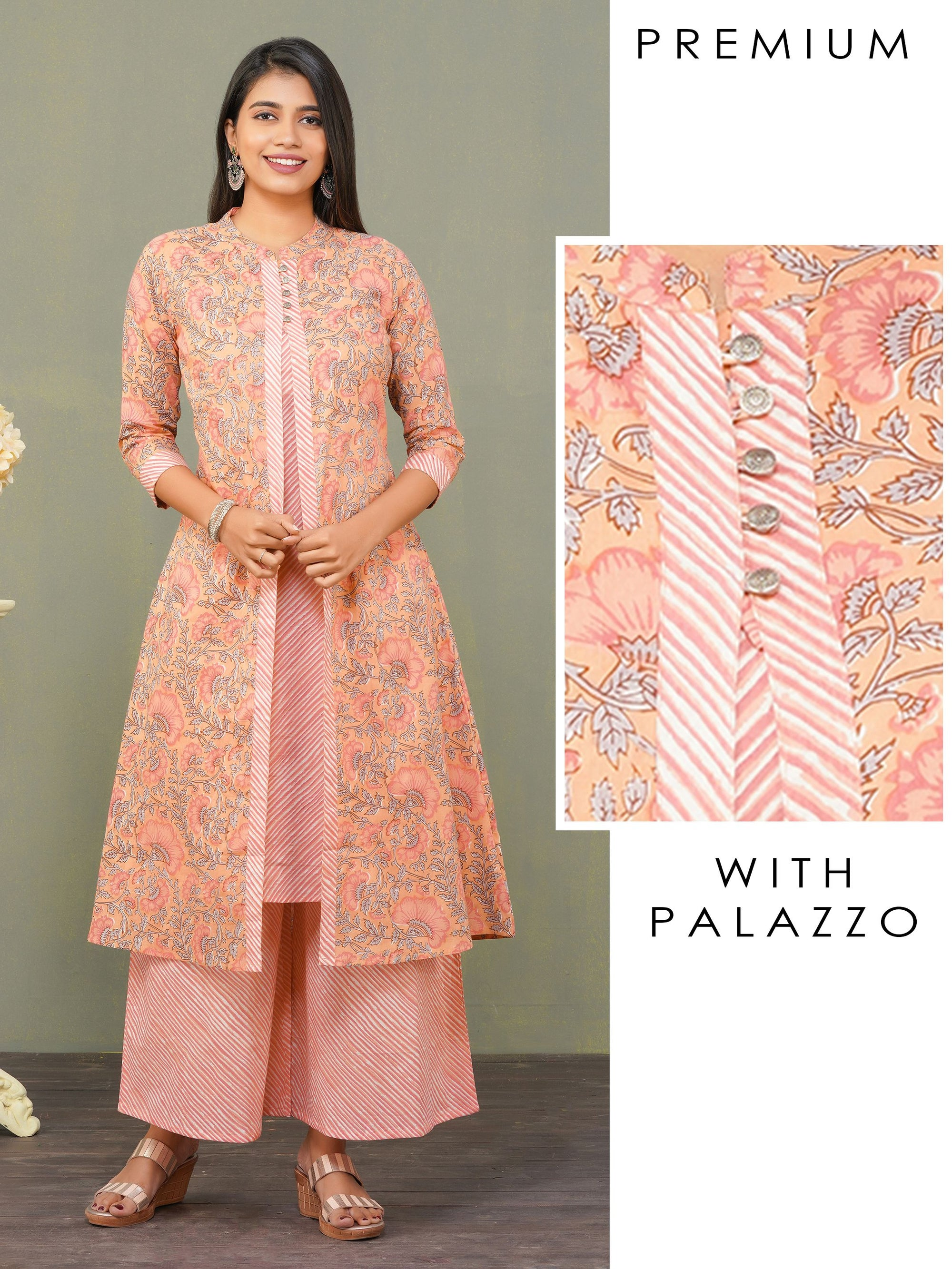 Floral Printed & Diagonal Striped Kurta with Palazzo