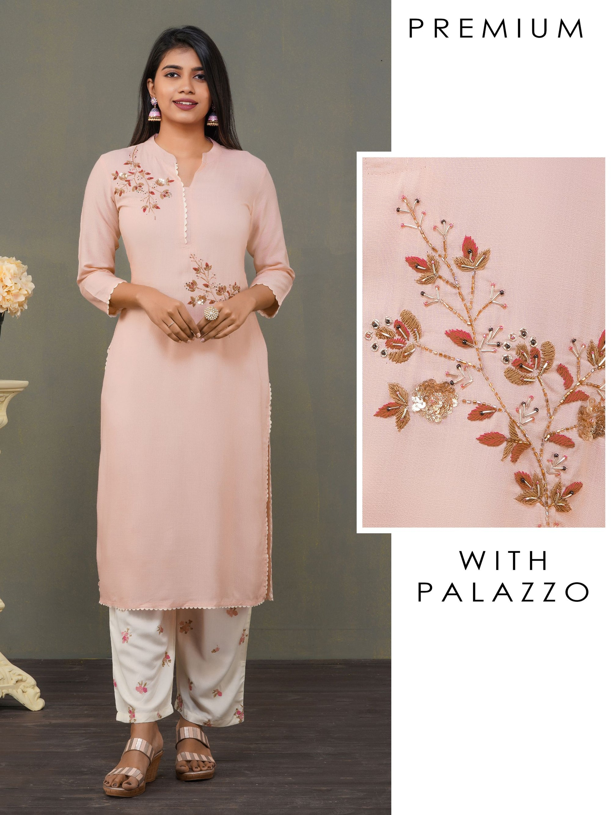 Cutdana & Embroidered Kurti with Palazzo Set