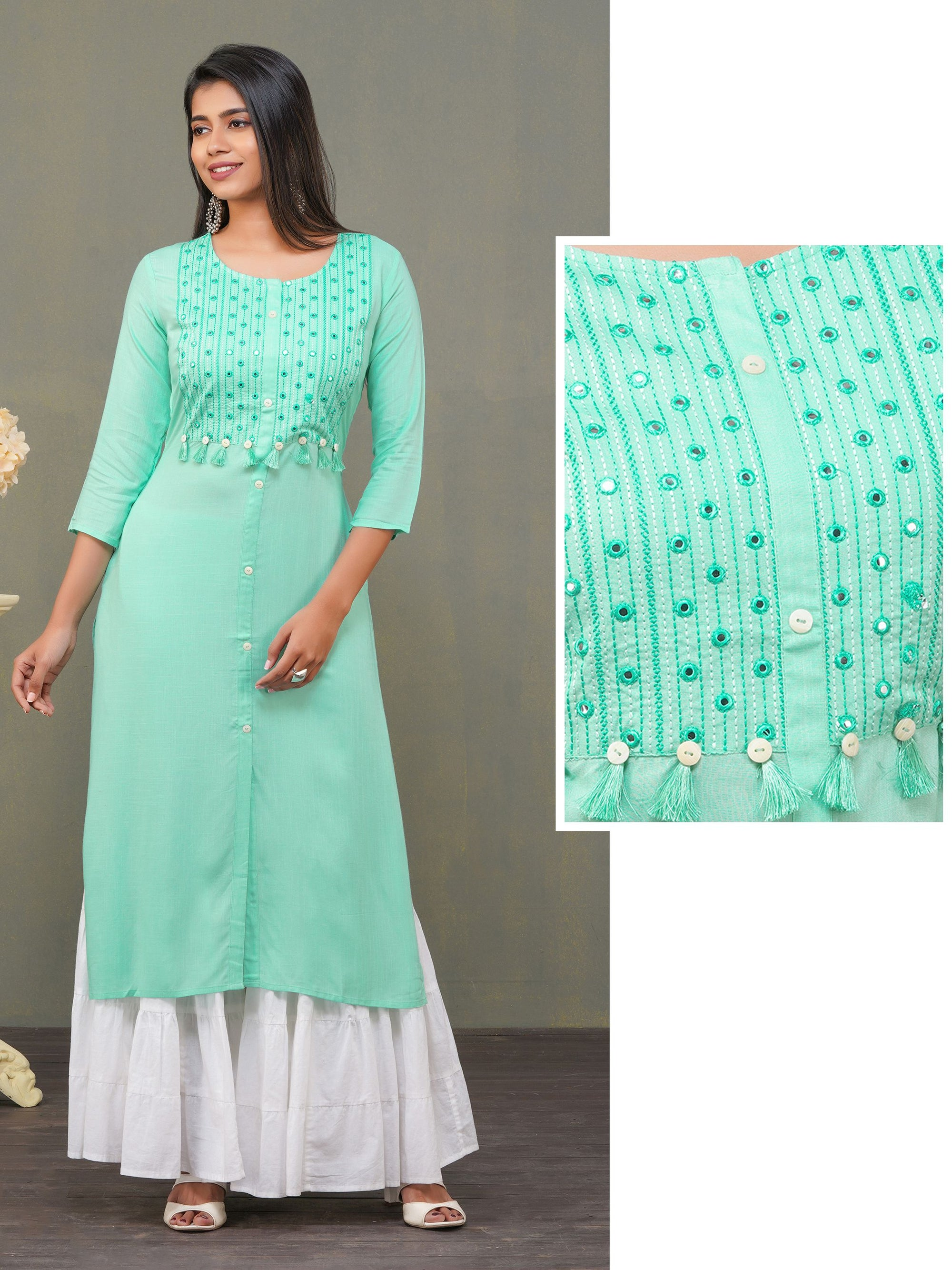 Mirror Worked Kurti With Tassels