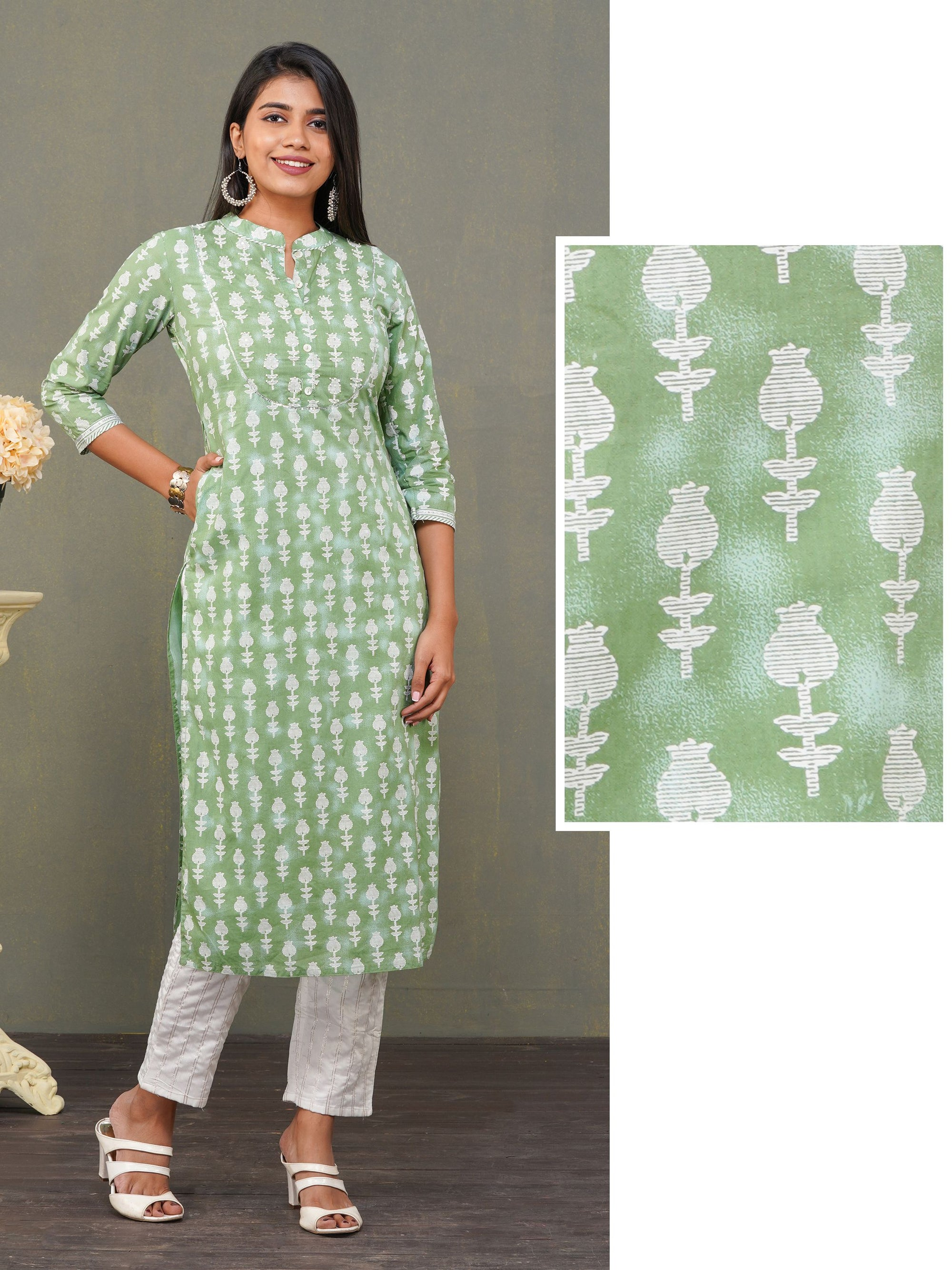 Sequins Enhanced Tulip Printed Kurti – Green