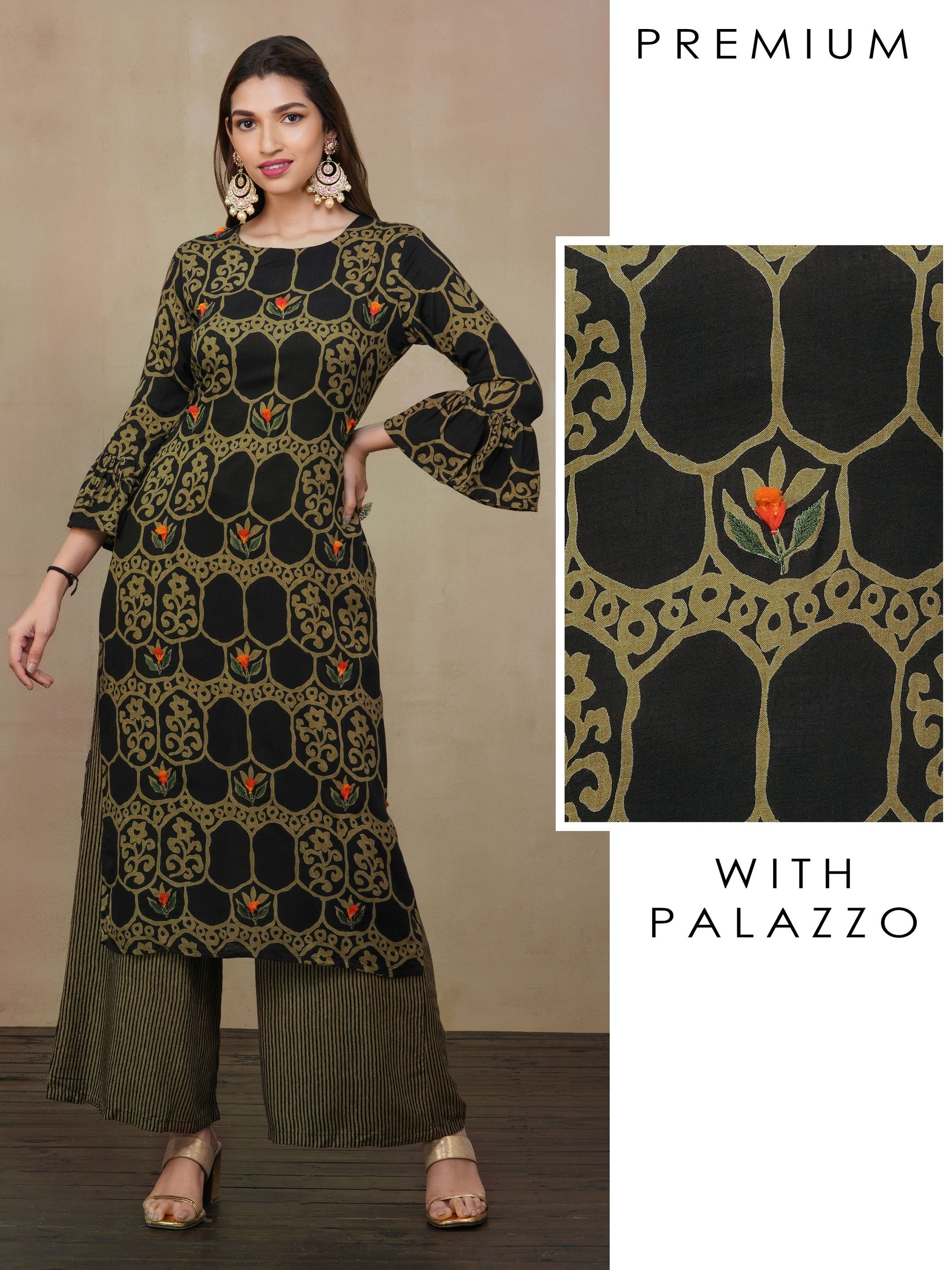 Abstract Floral Printed Kurti with Striped Palazzo Set