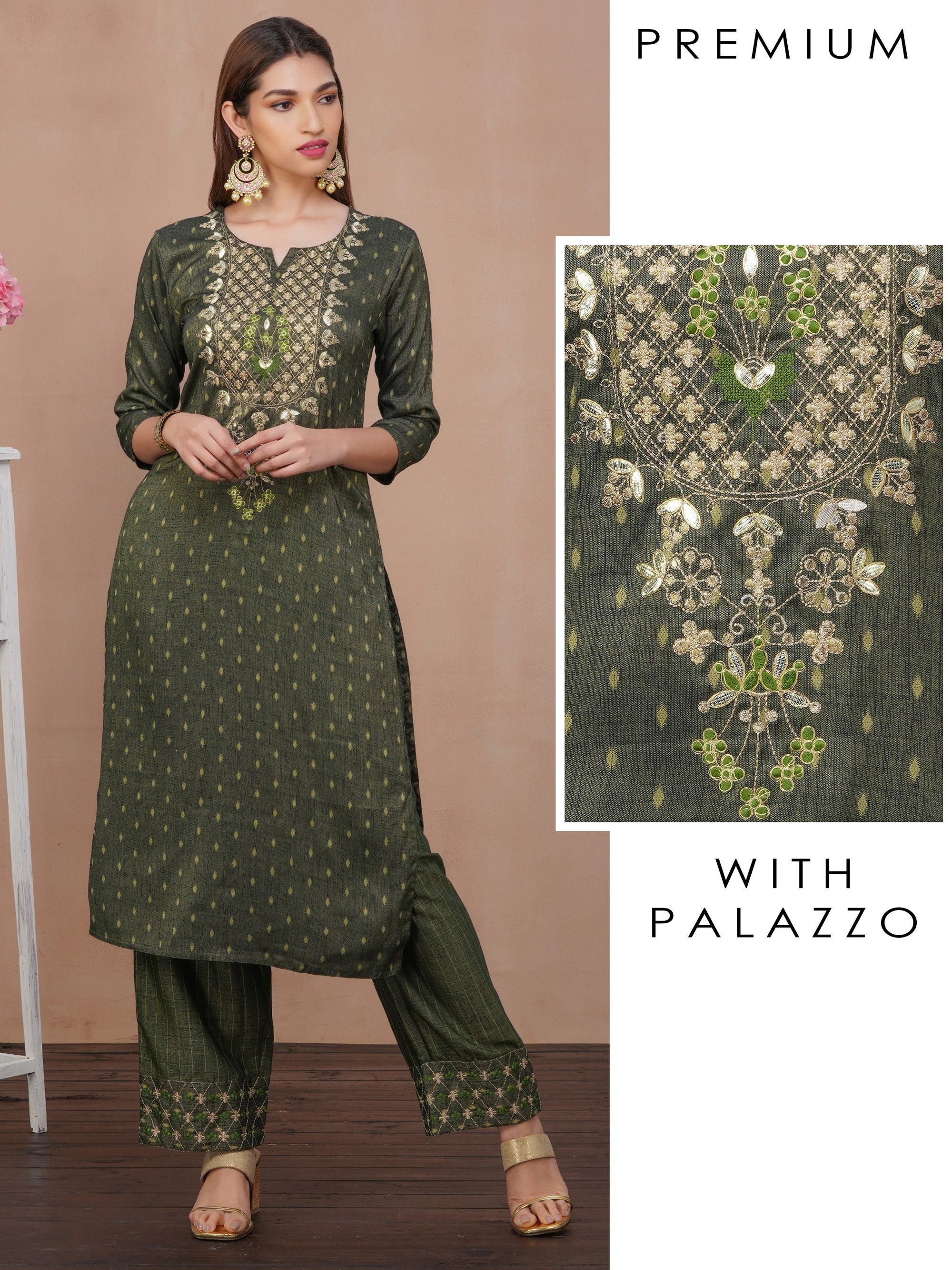 Gota Embellished Kurti with Palazzo Set – Juniper Green