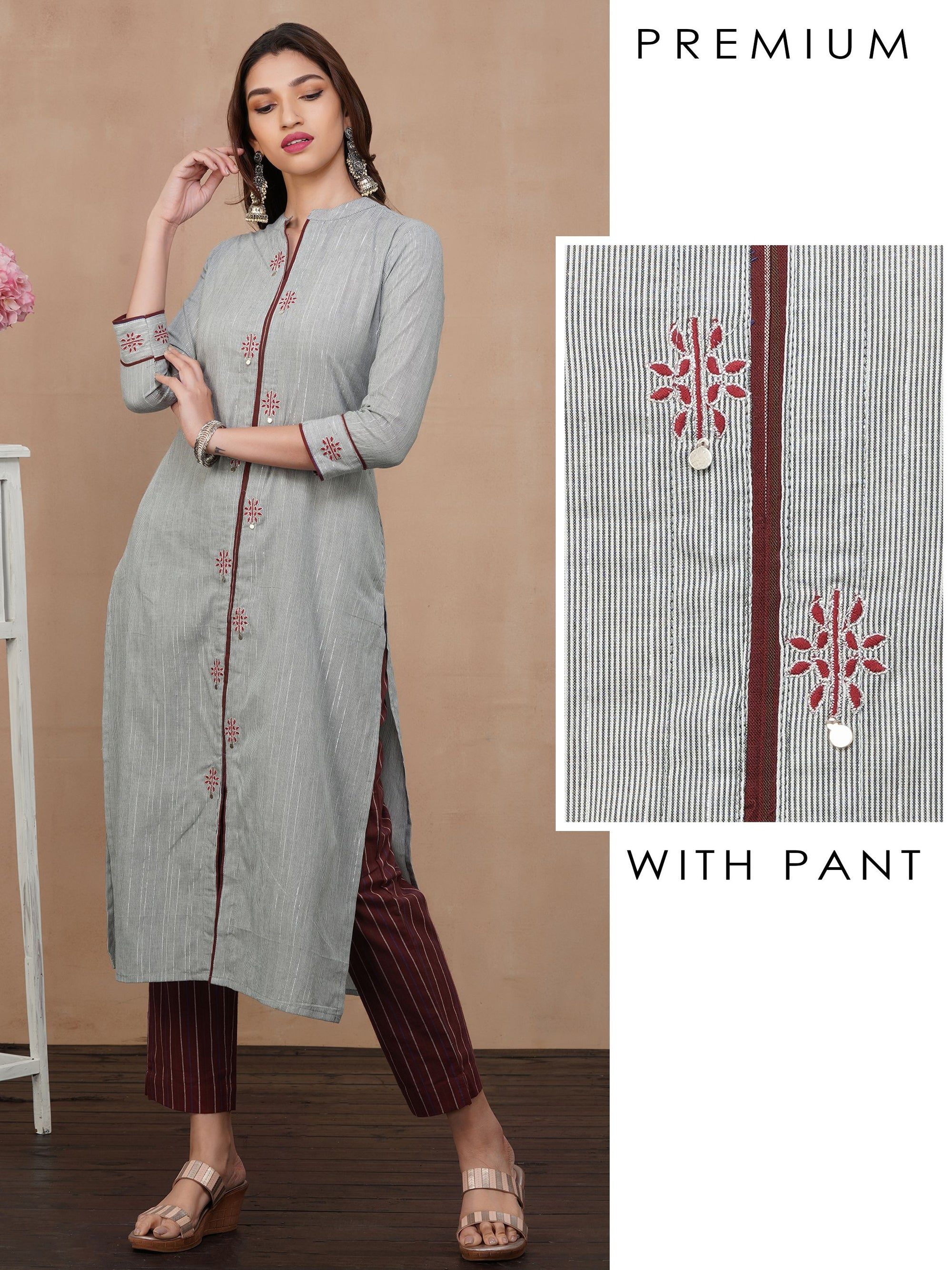 Minimal Embroidered Kurti with Bengal Striped Pant Set