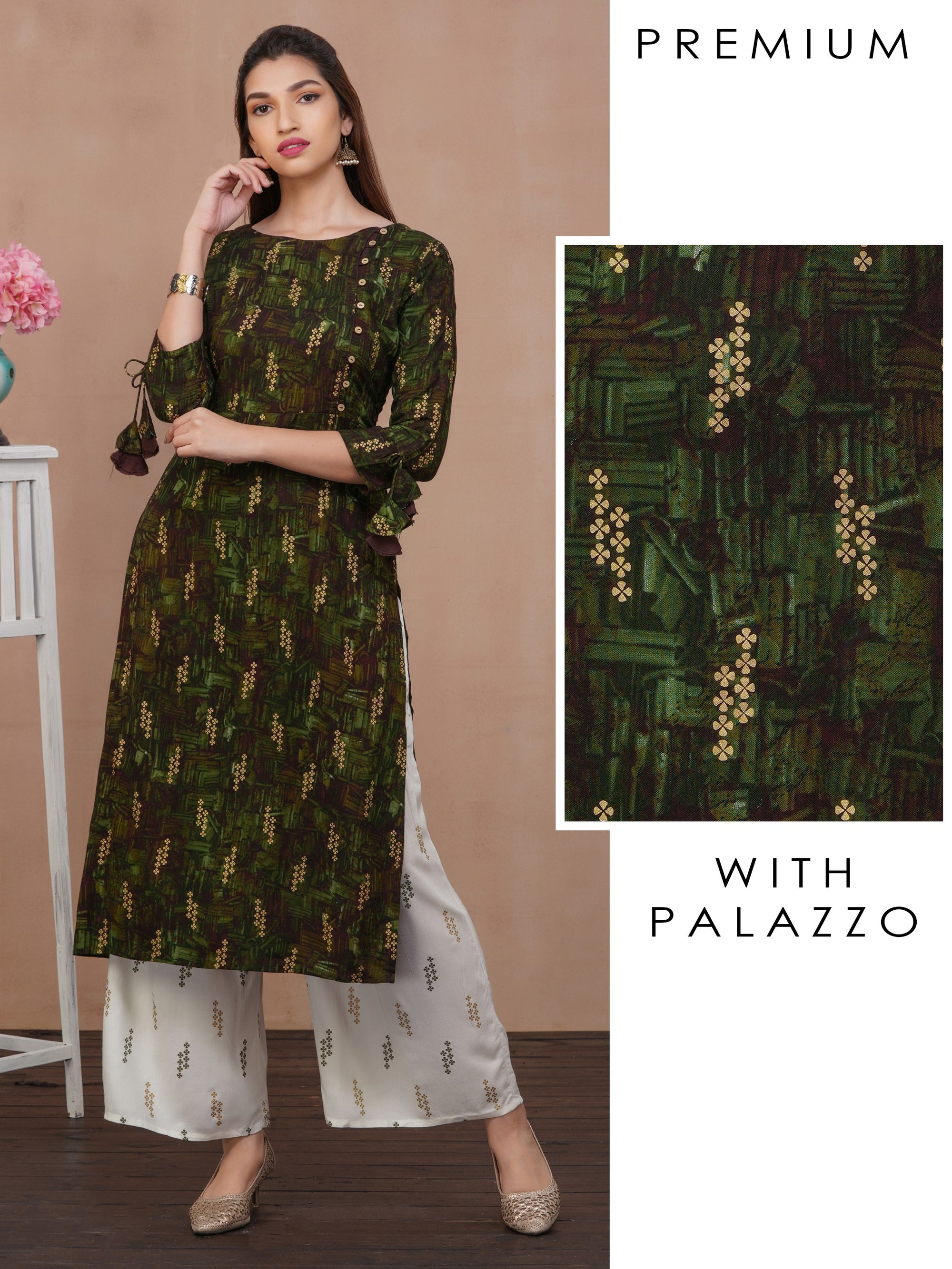 Abstract Printed Kurti with Palazzo Set