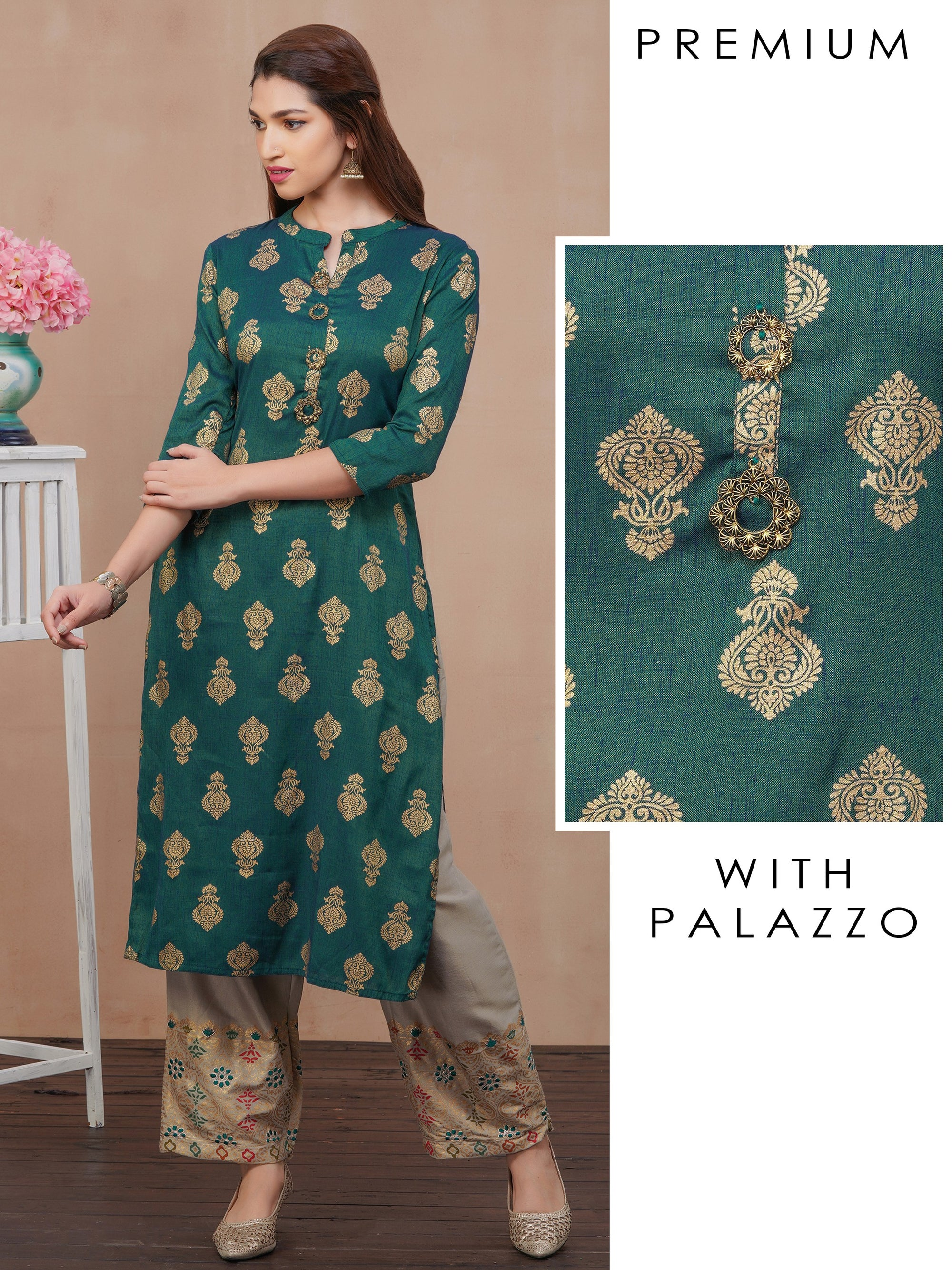 Ethnic Buta Printed Kurti with Palazzo Set