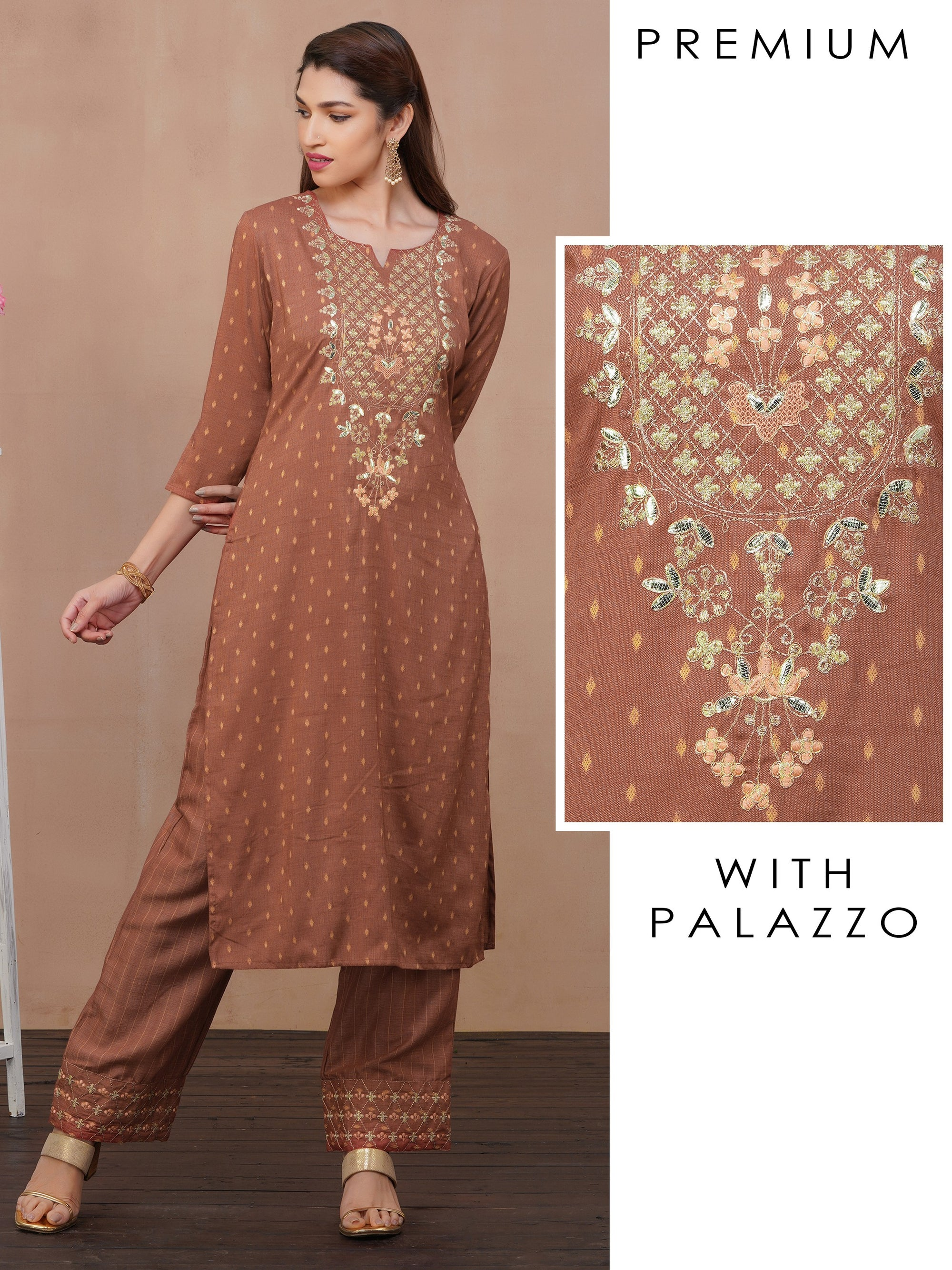 Gota Embellished Kurti with Palazzo Set – Rusty Brown