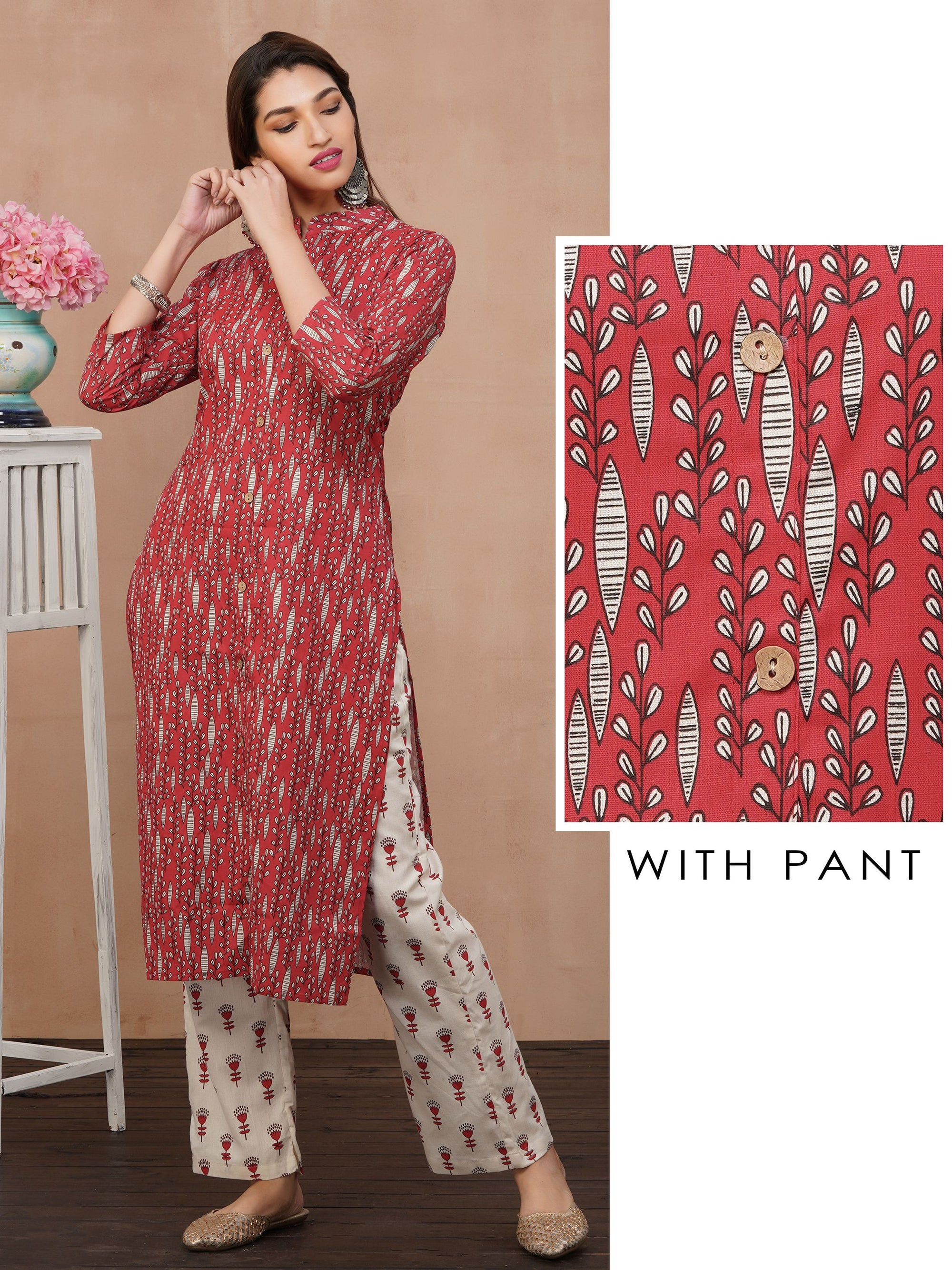 Pinnate Leaf Printed Kurti with Retro Tulip Printed Pant Set