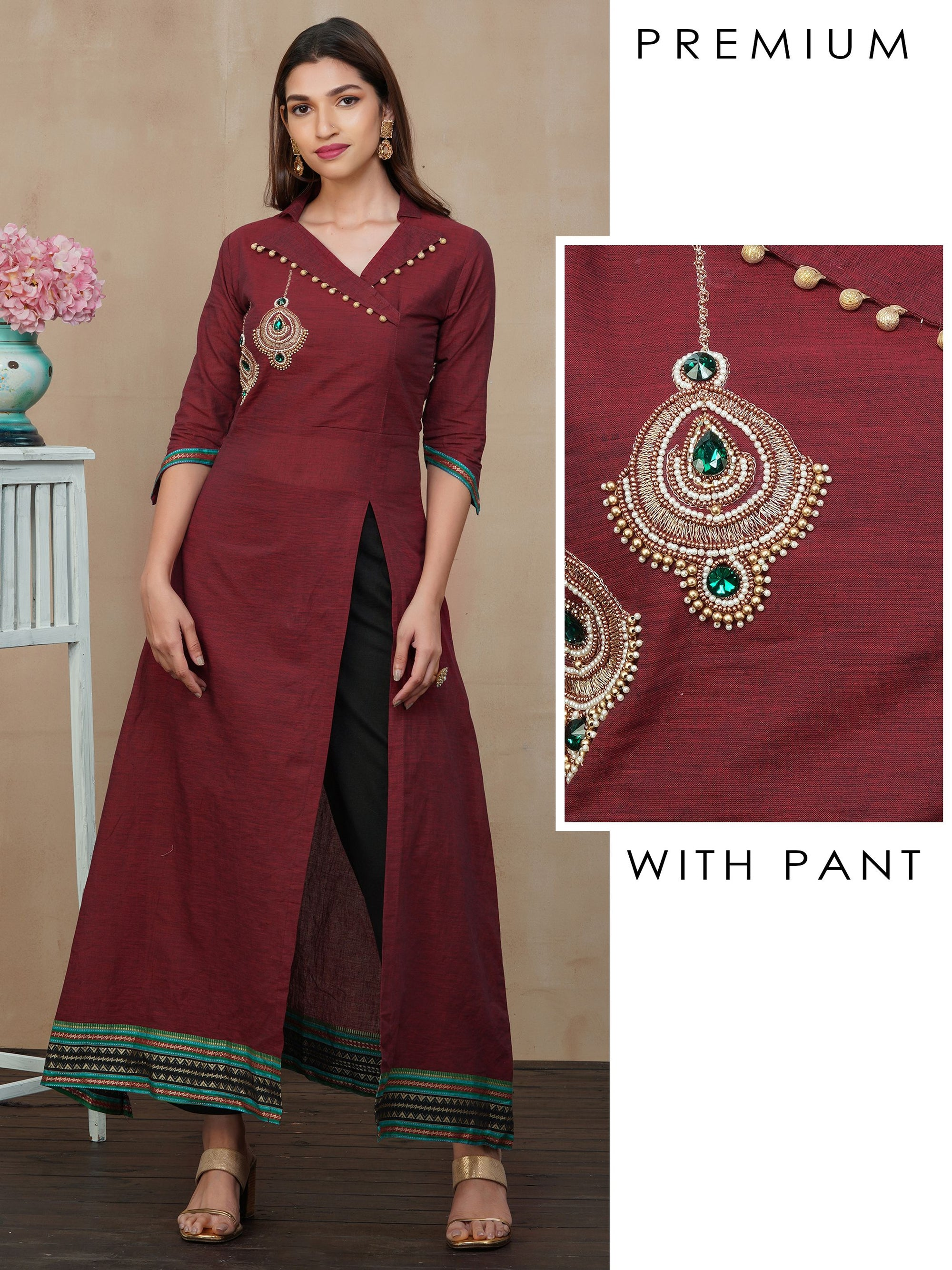 Placement Embroidered Kurti with Pant Set - Maroon