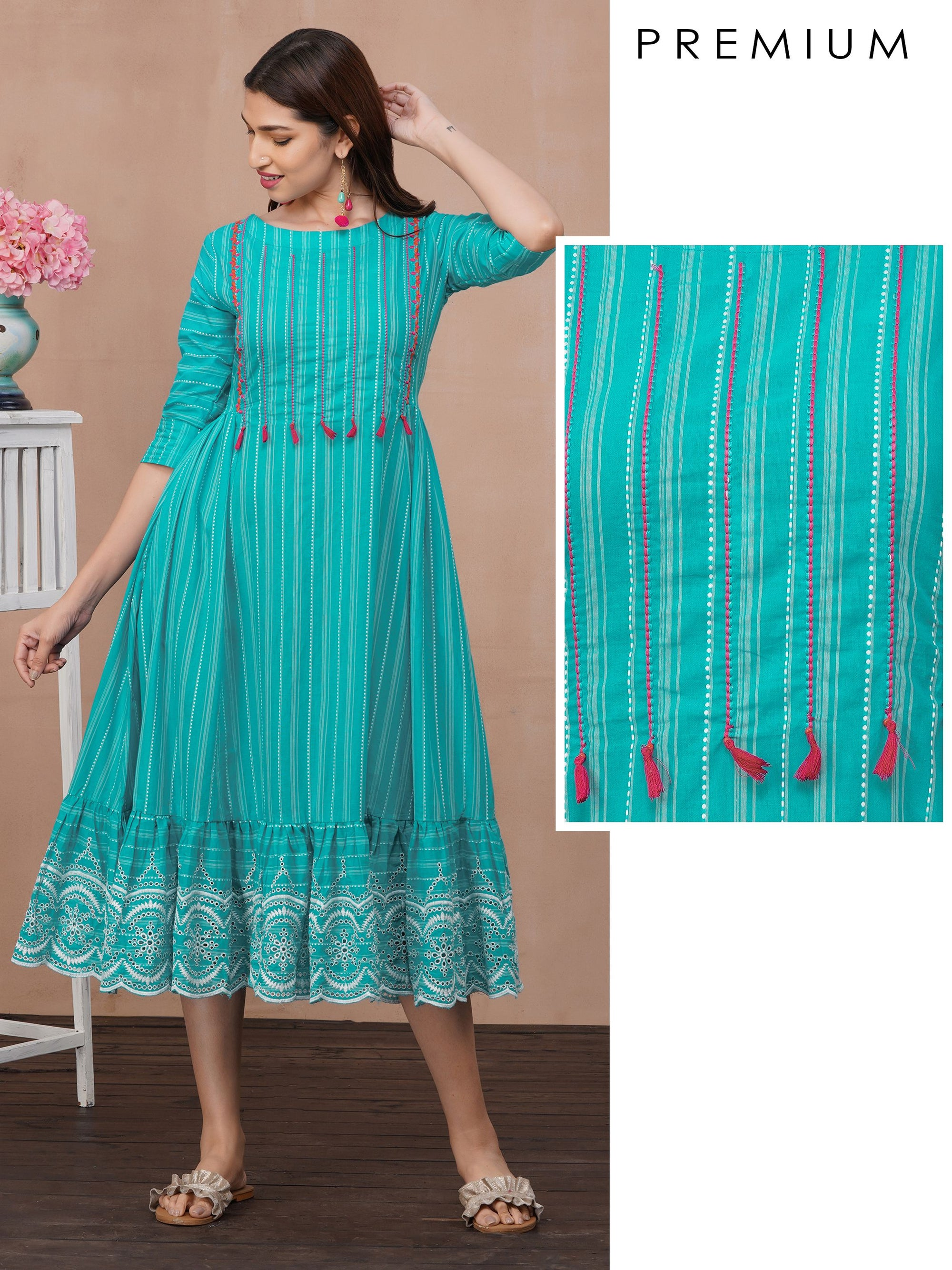 Barcode Striped & Embroidered Maxi