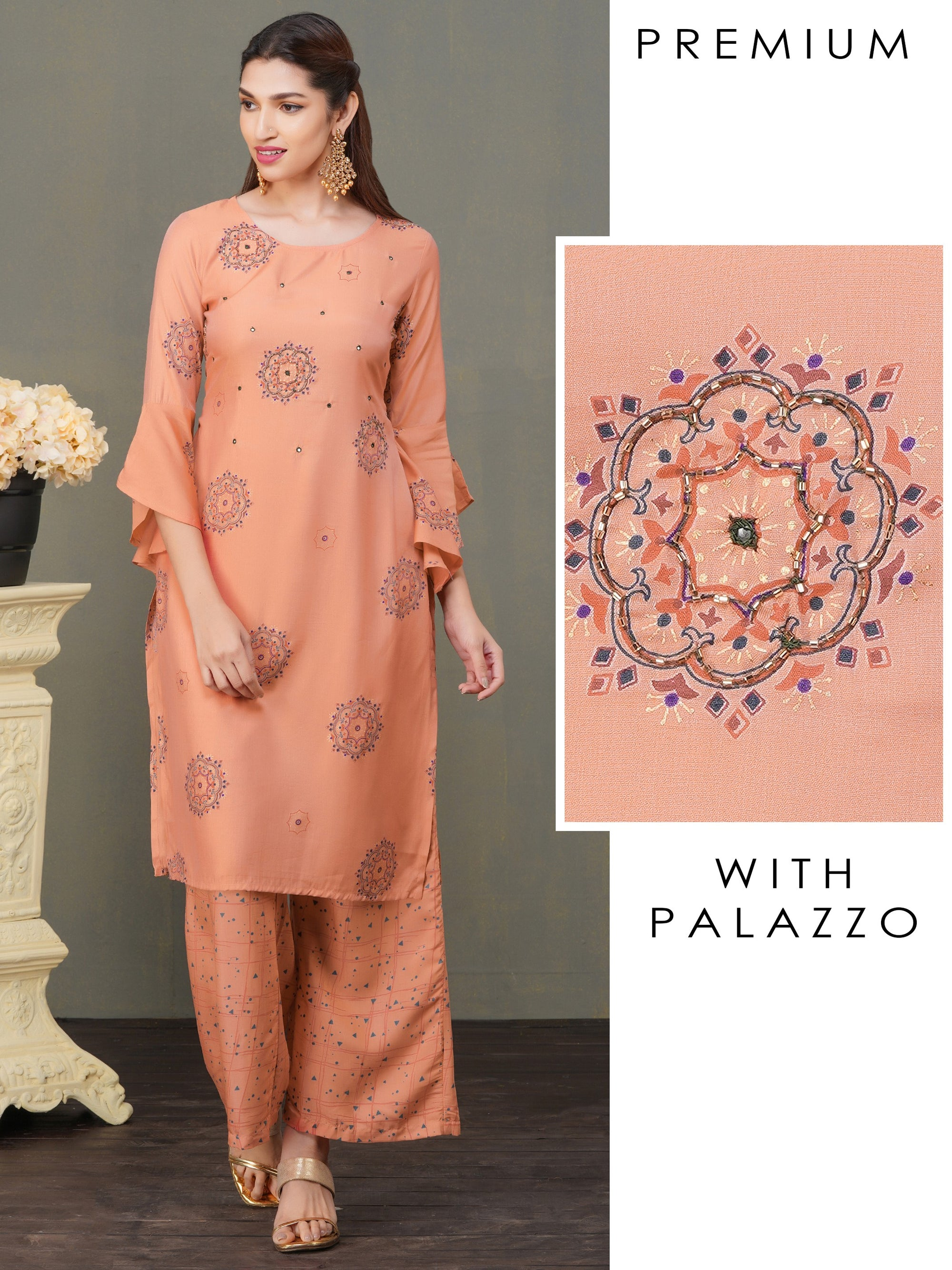 Monotone Rangoli Embroidered Kurti with Palazzo Set