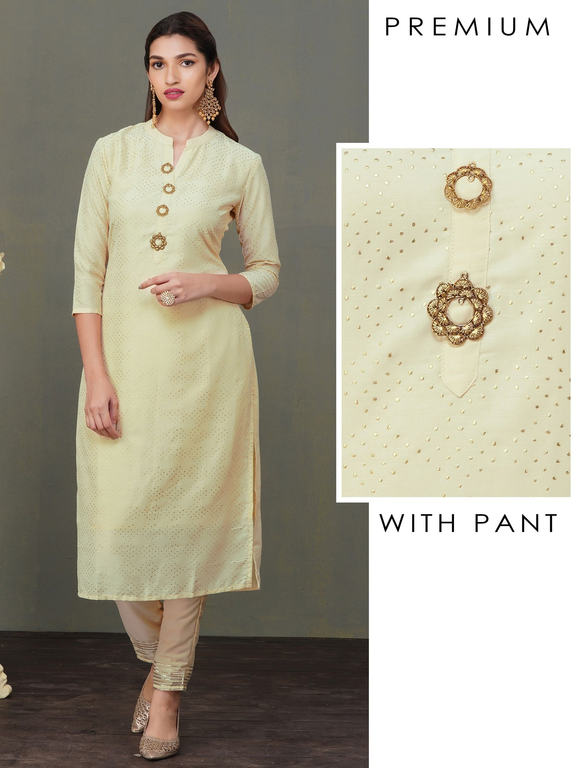 Floral Brooches Enhanced Kurti with Gota Lace Pant Set