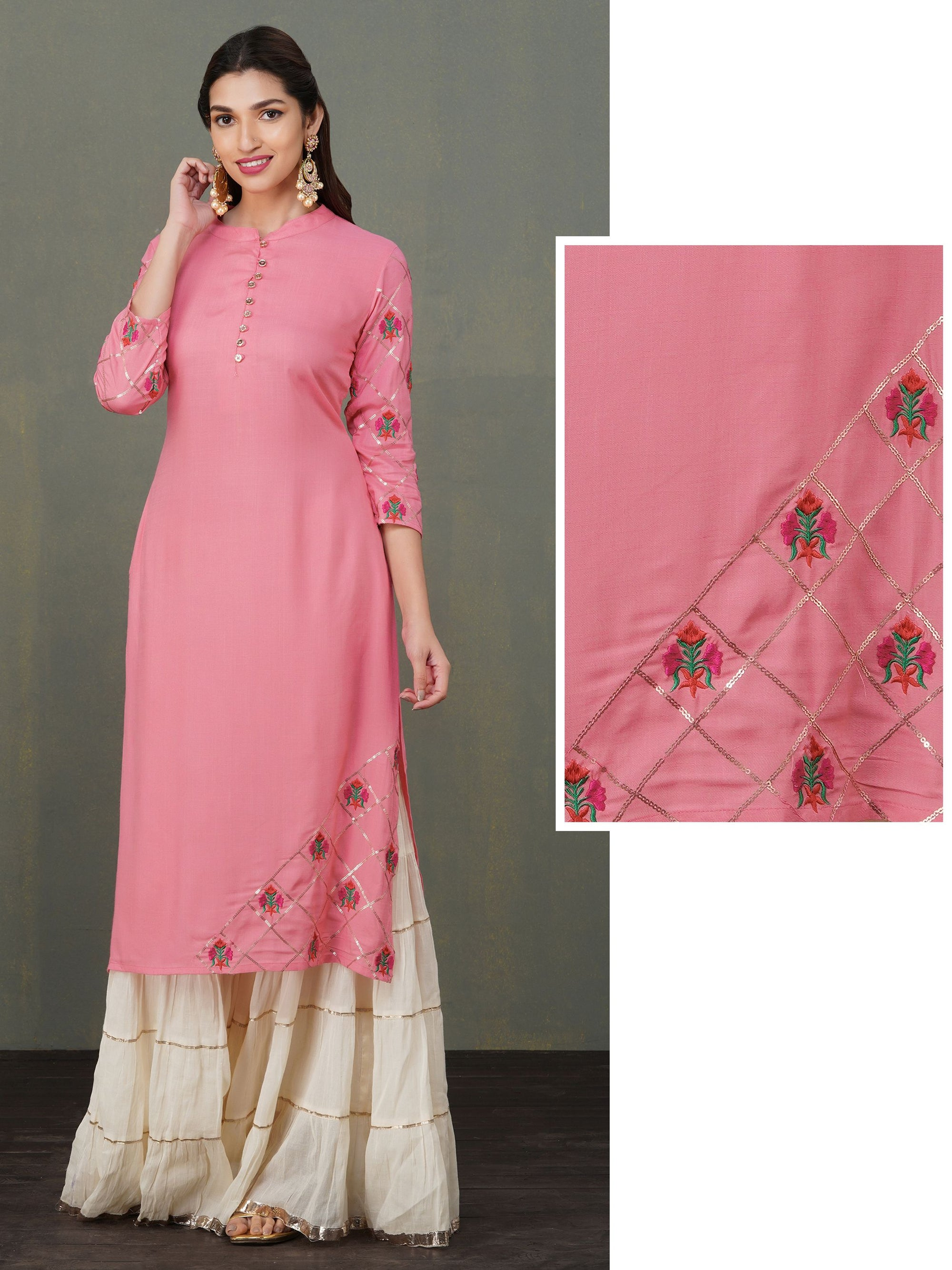 Sequins & Floral Embroidered Solid Kurti