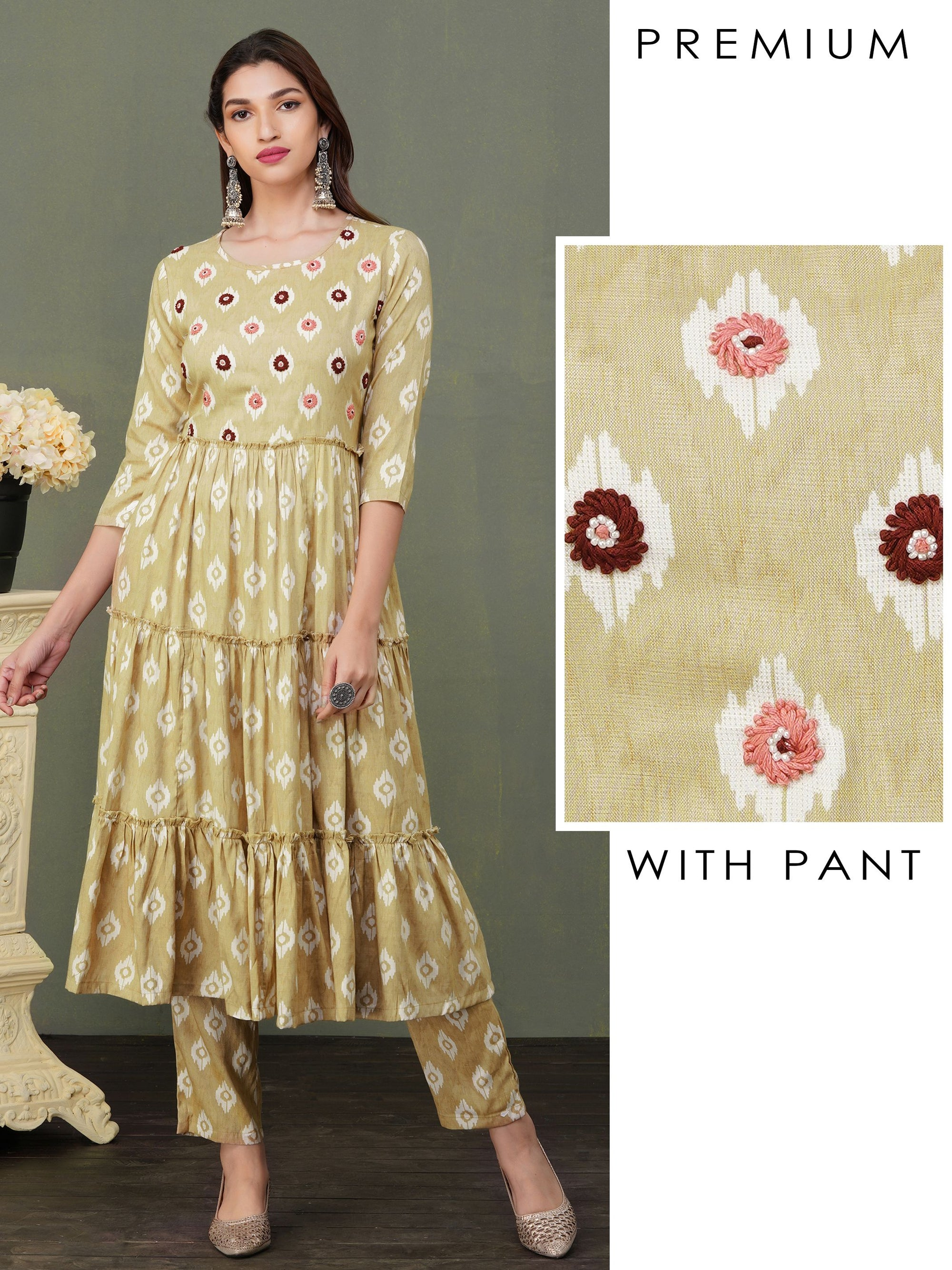 Floral Embroidered Tiered Kurti & Pant Set - Beige