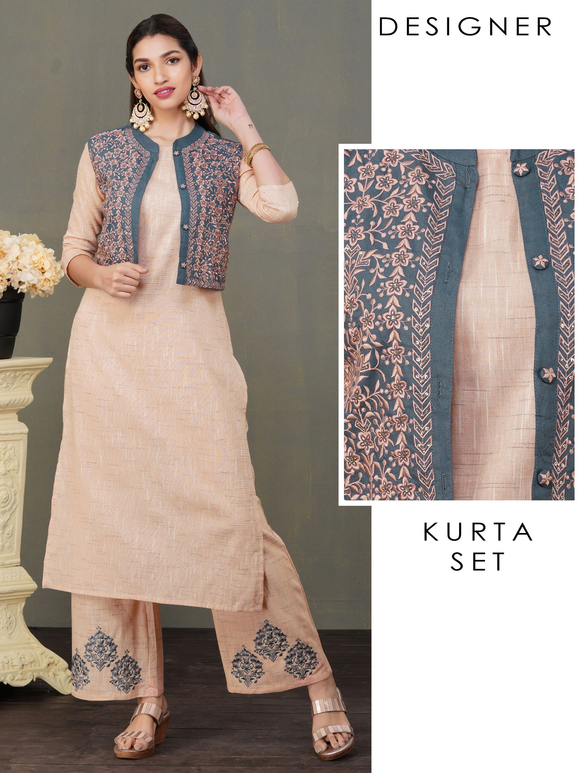 Handloom Textured Kurti & Embroidered Waistcoat with Palazzo Set