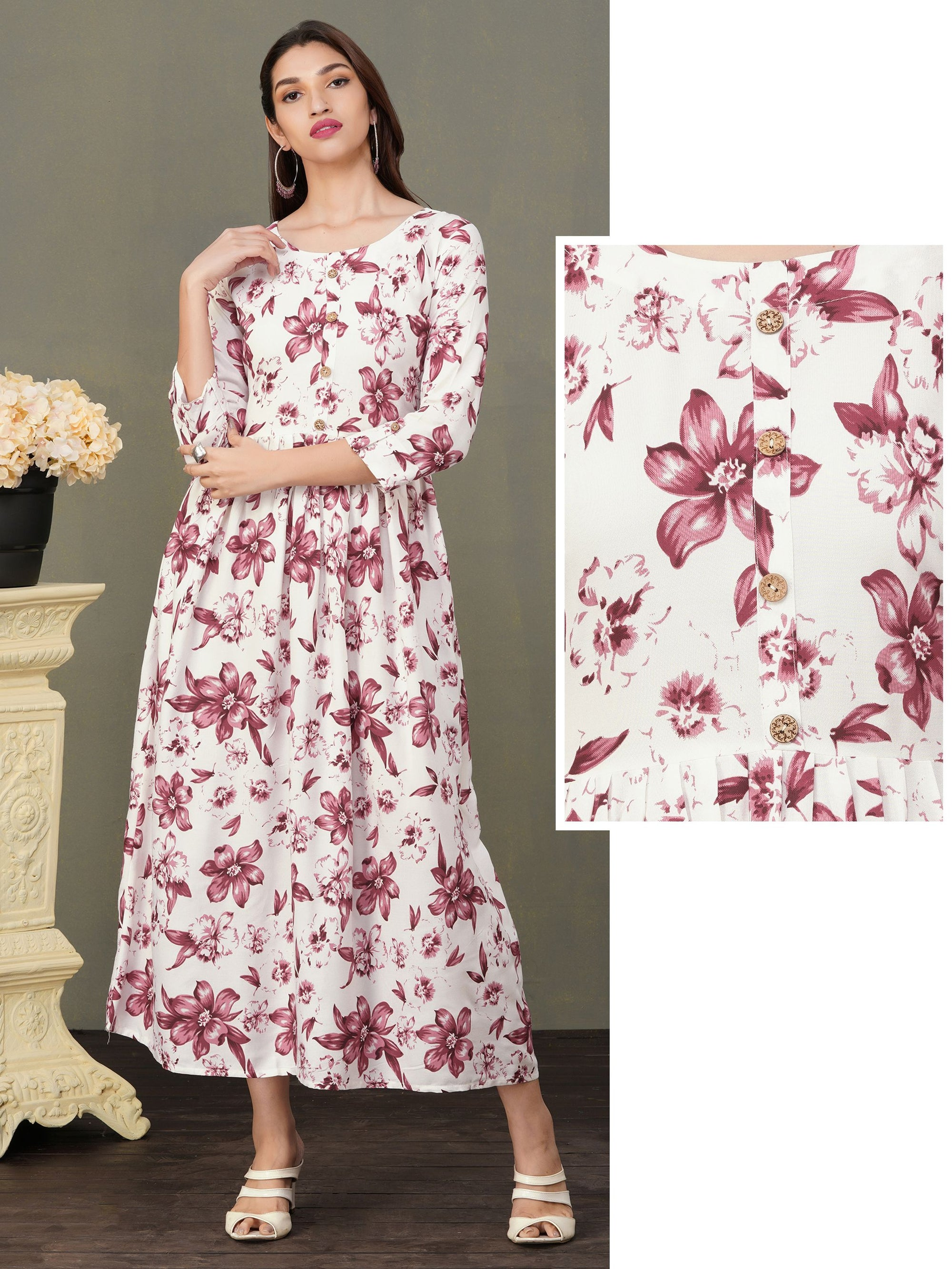 Floral Printed & Pleated Cotton Maxi