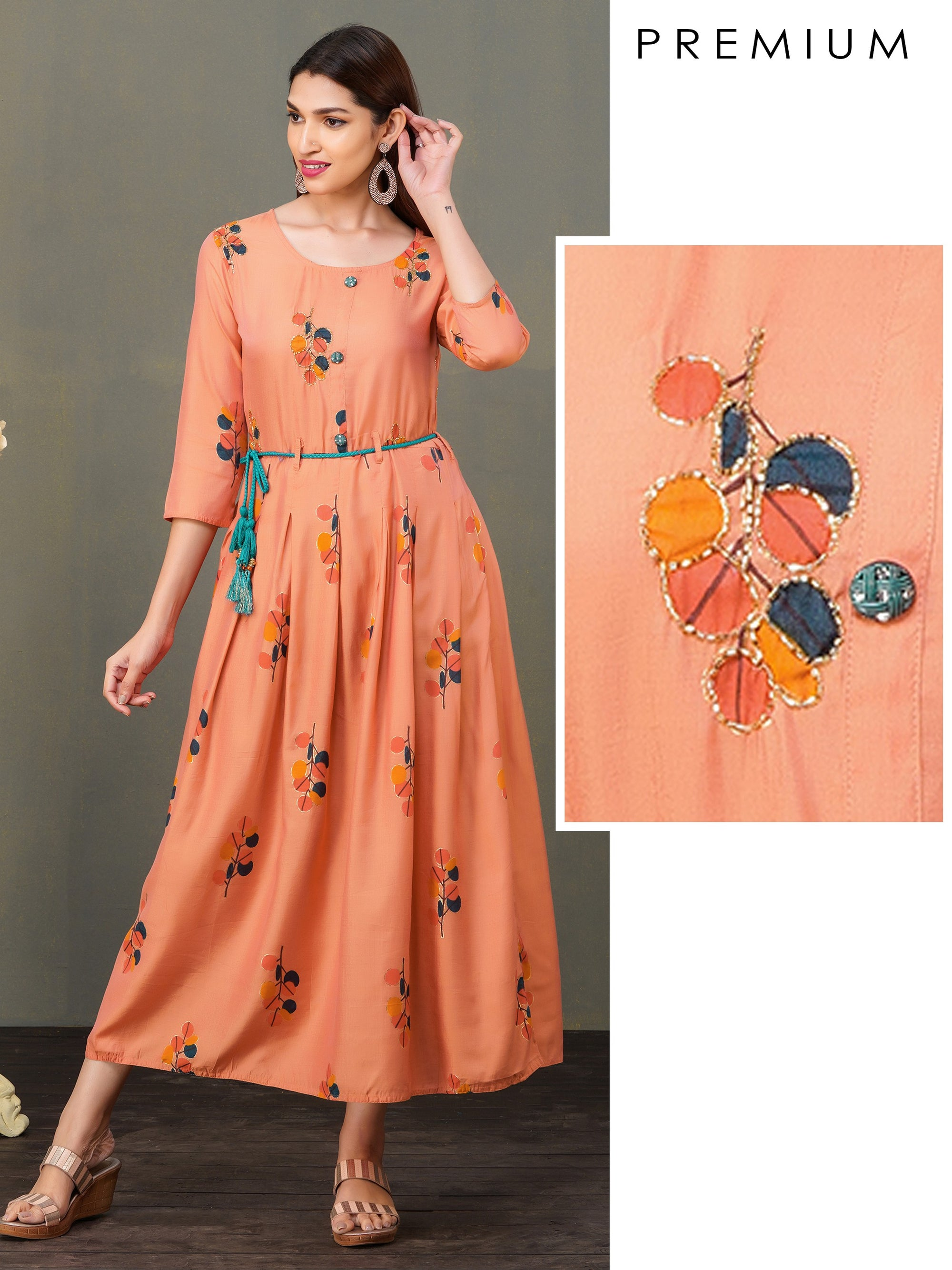 Floral Printed Box Pleated Maxi - Orange
