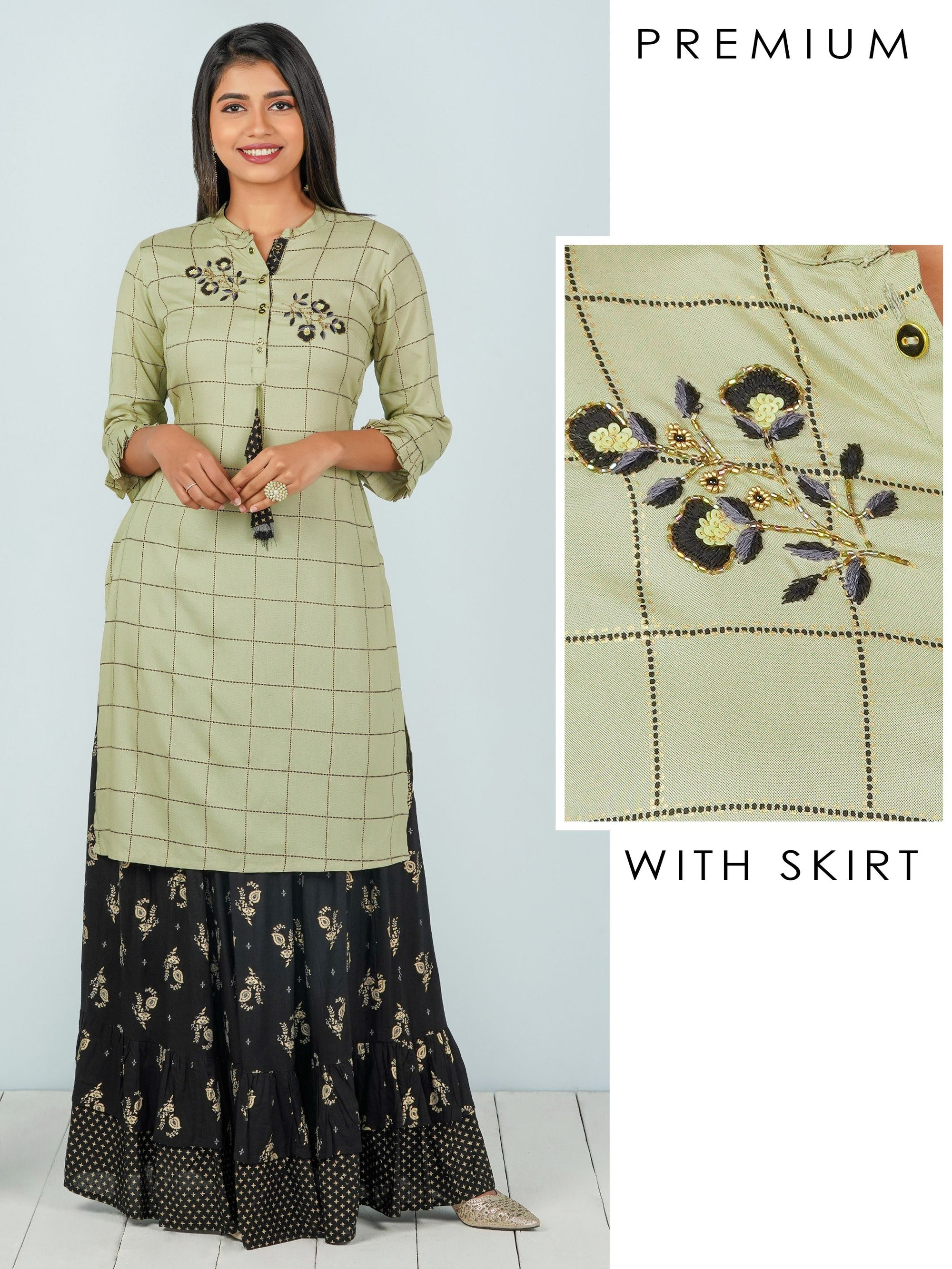 Intricate Embroidered Tunic & Foil Printed Tiered Skirt Set