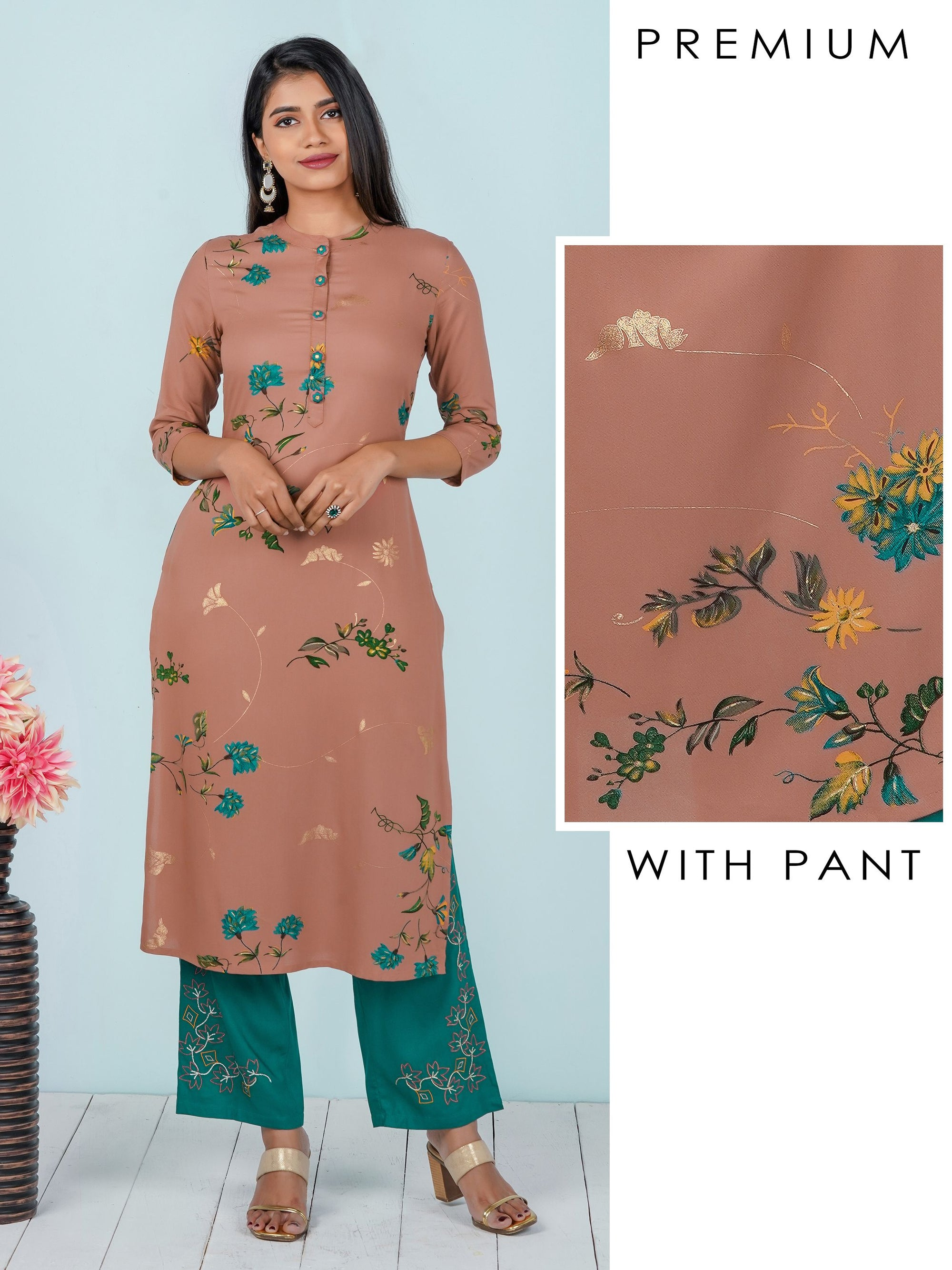 Contrast Floral Printed Kurti & Embroidered Pant Set
