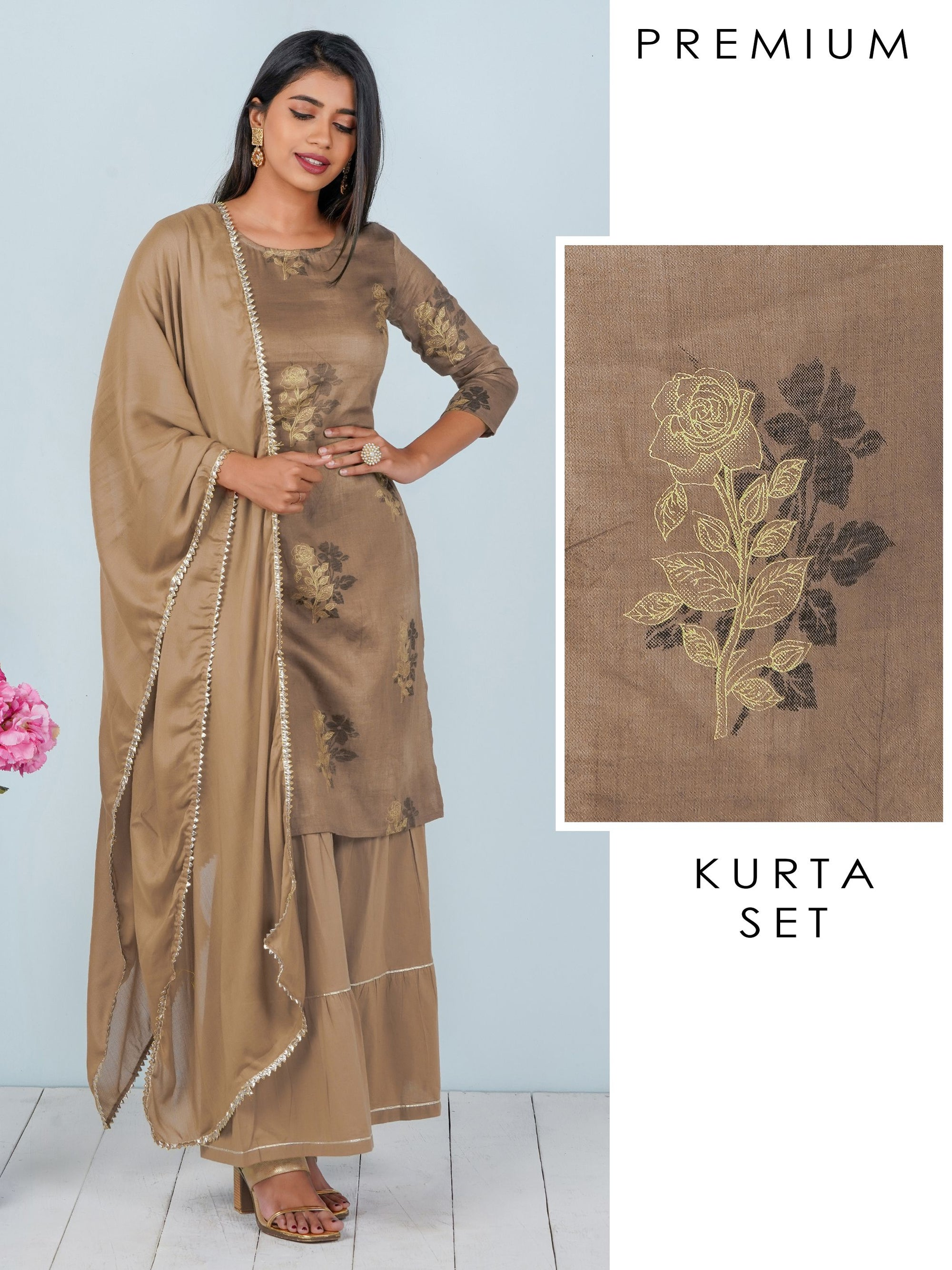 Monotone Floral Printed Kurti, Gota Sharara & Dupatta Set - Rusty Brown