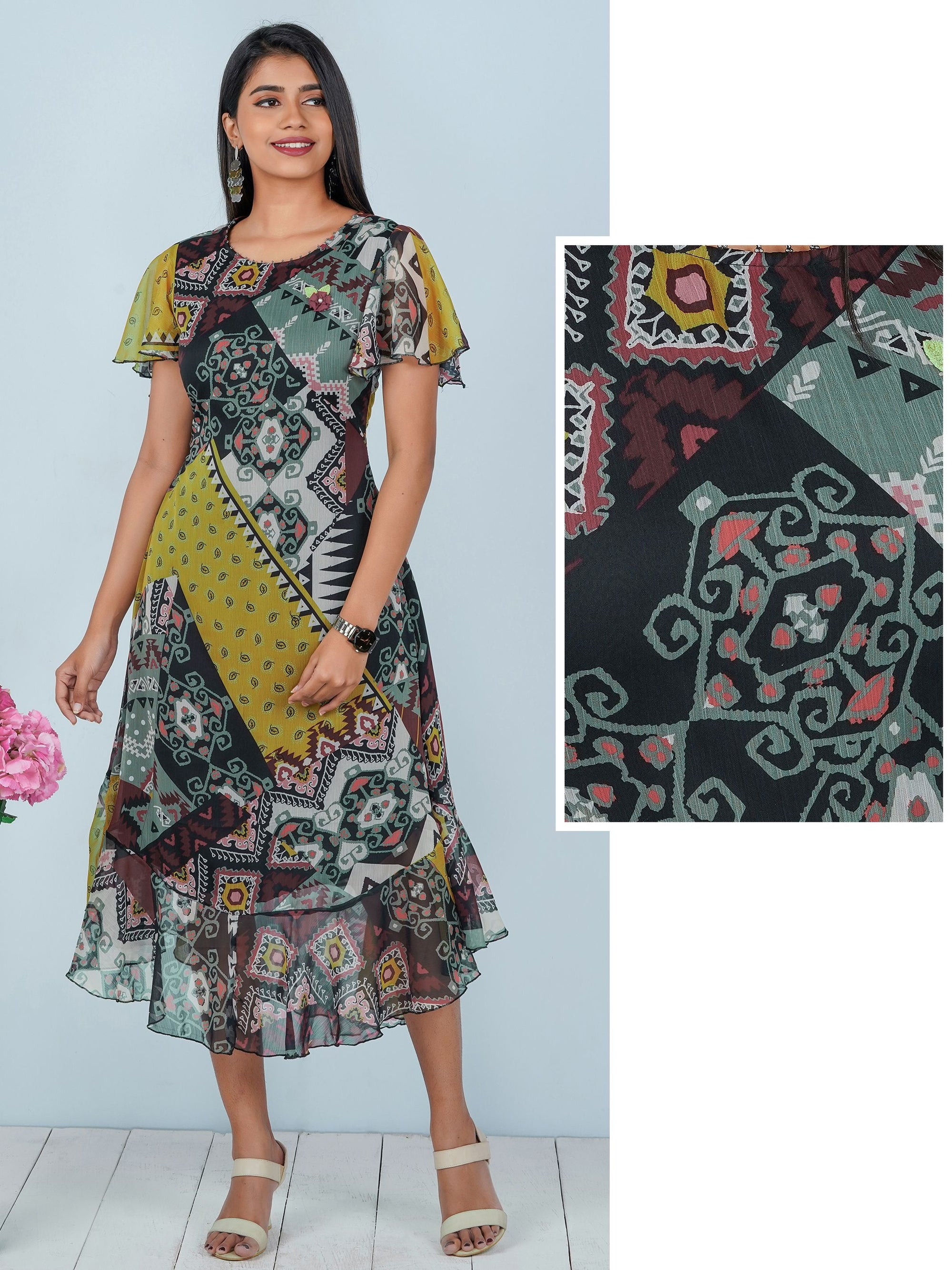 Digital Printed Butterfly Sleeve Maxi