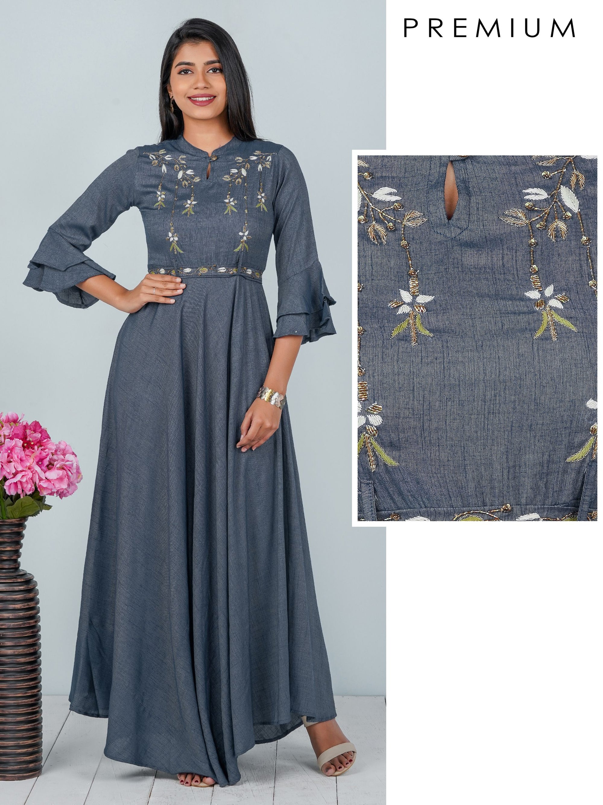 Epitome of Cutdana Embroidery, Bias Cut Denim Maxi with Belt