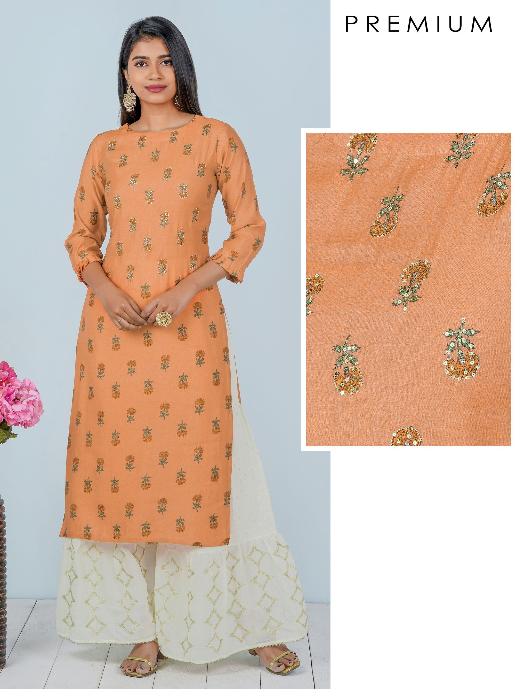 Sequins Enhanced Floral Printed Kurti
