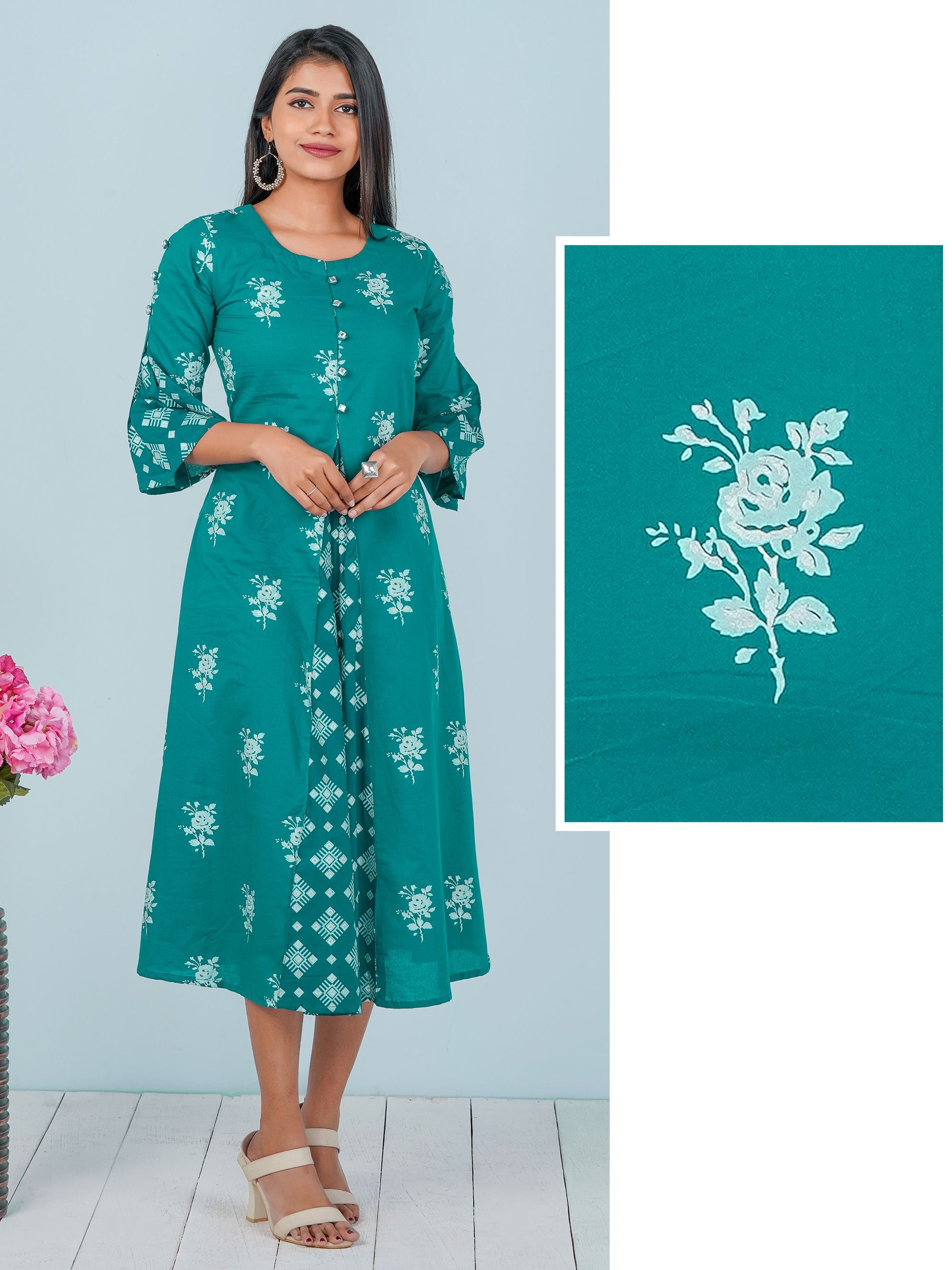 Floral Block Printed & Foil Mirror worked Kurti