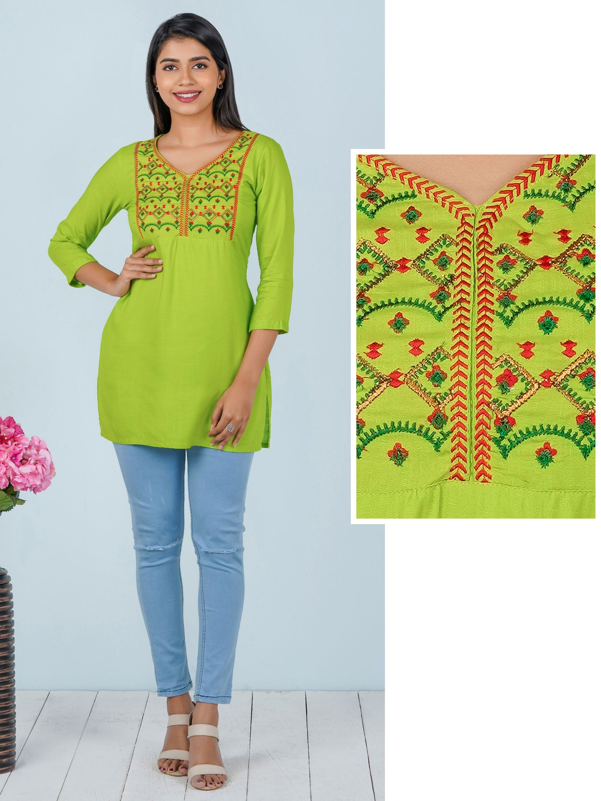 Chevron & Zari Embroidered Rayon Tunic – Chartreuse Green