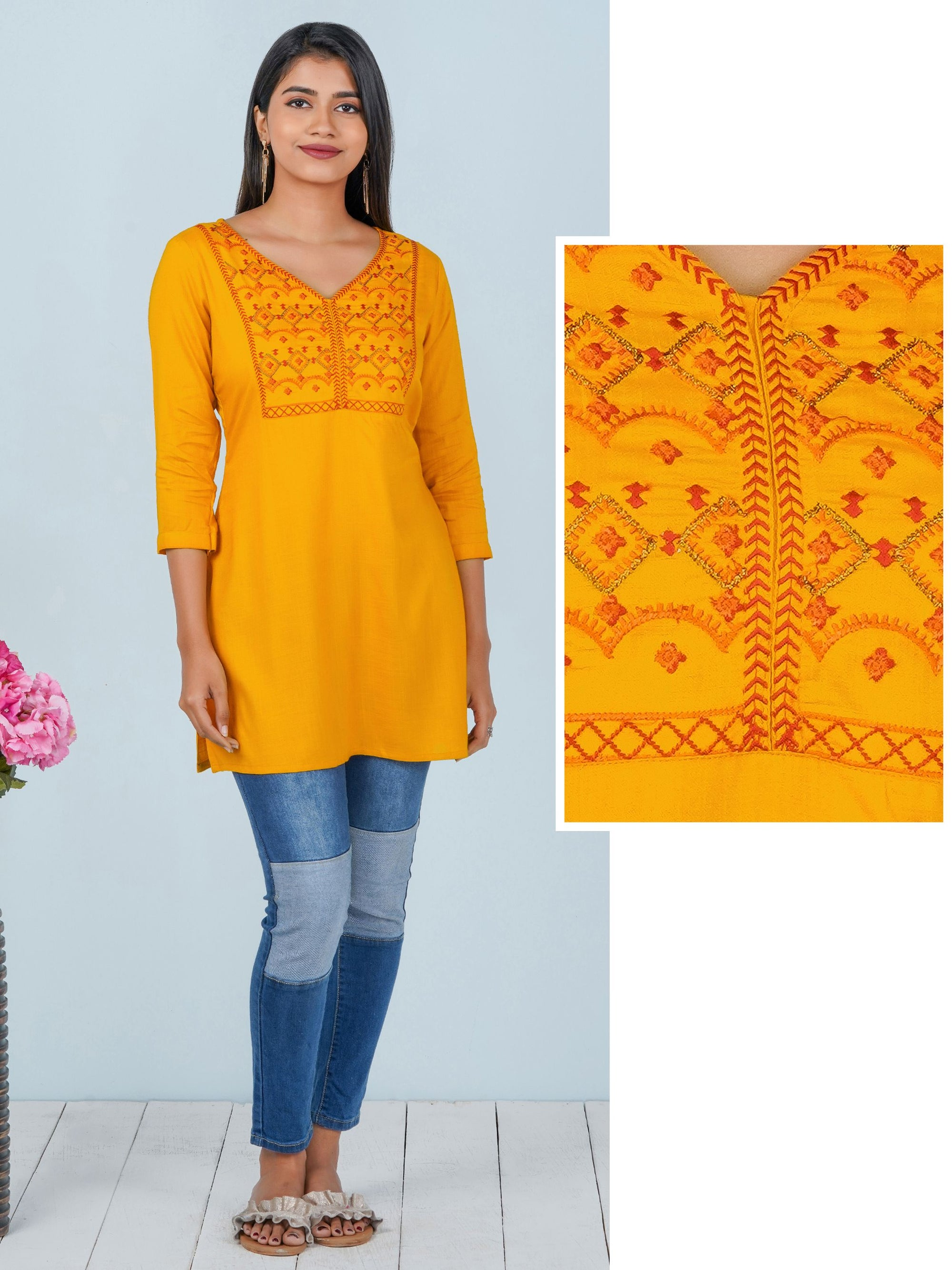 Chevron & Zari Embroidered Rayon Tunic – Mustard
